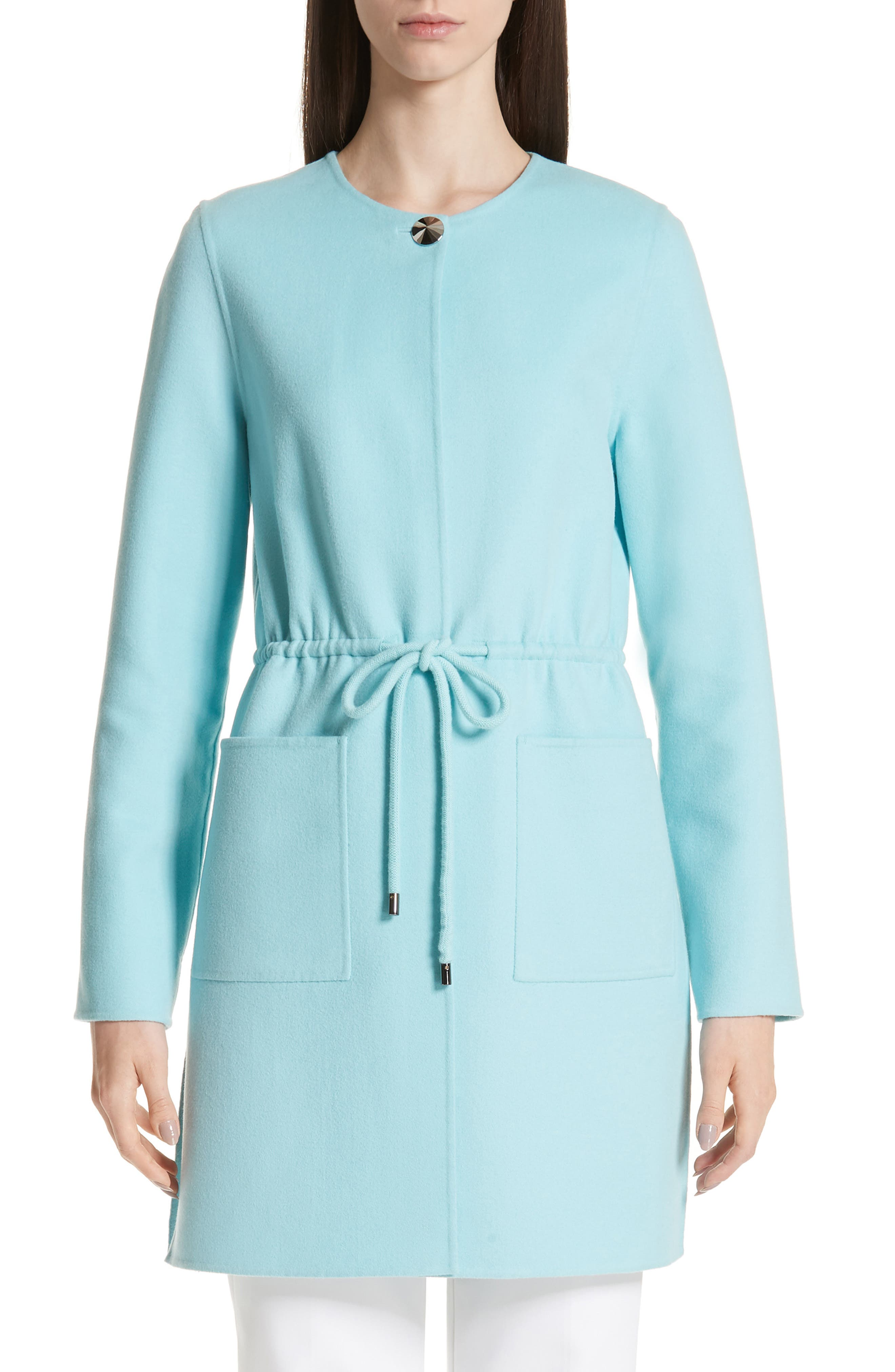 ST. JOHN COLLECTION Double Face Wool & Cashmere Jacket, Main, color, AQUAMARINE