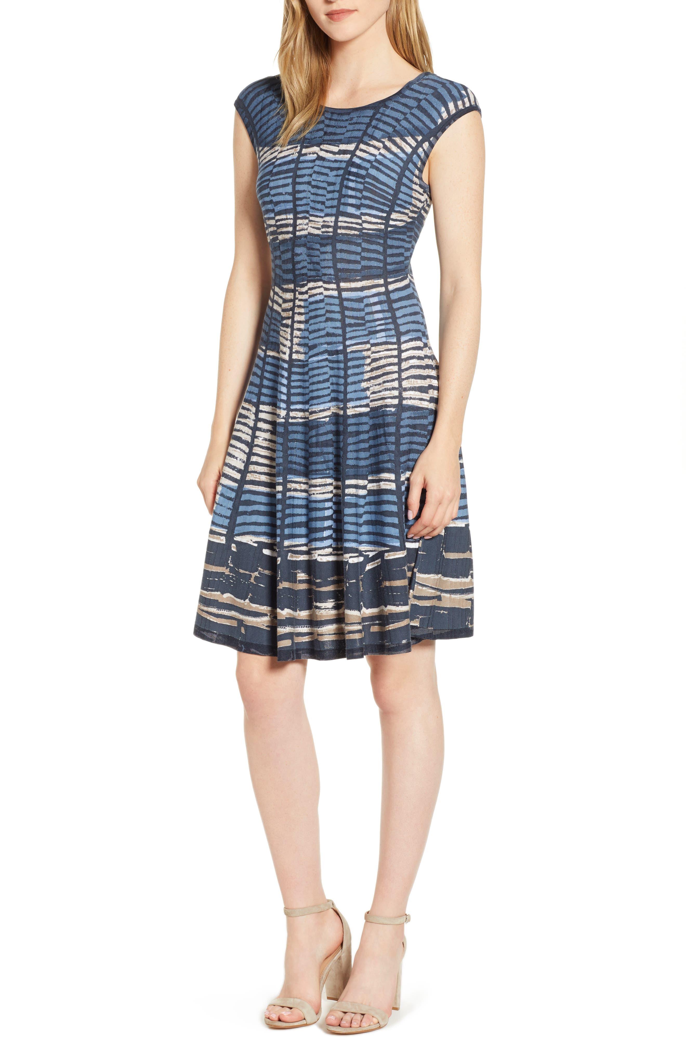 Petite Nic+Zoe Mesmerize Twirl Dress, Blue