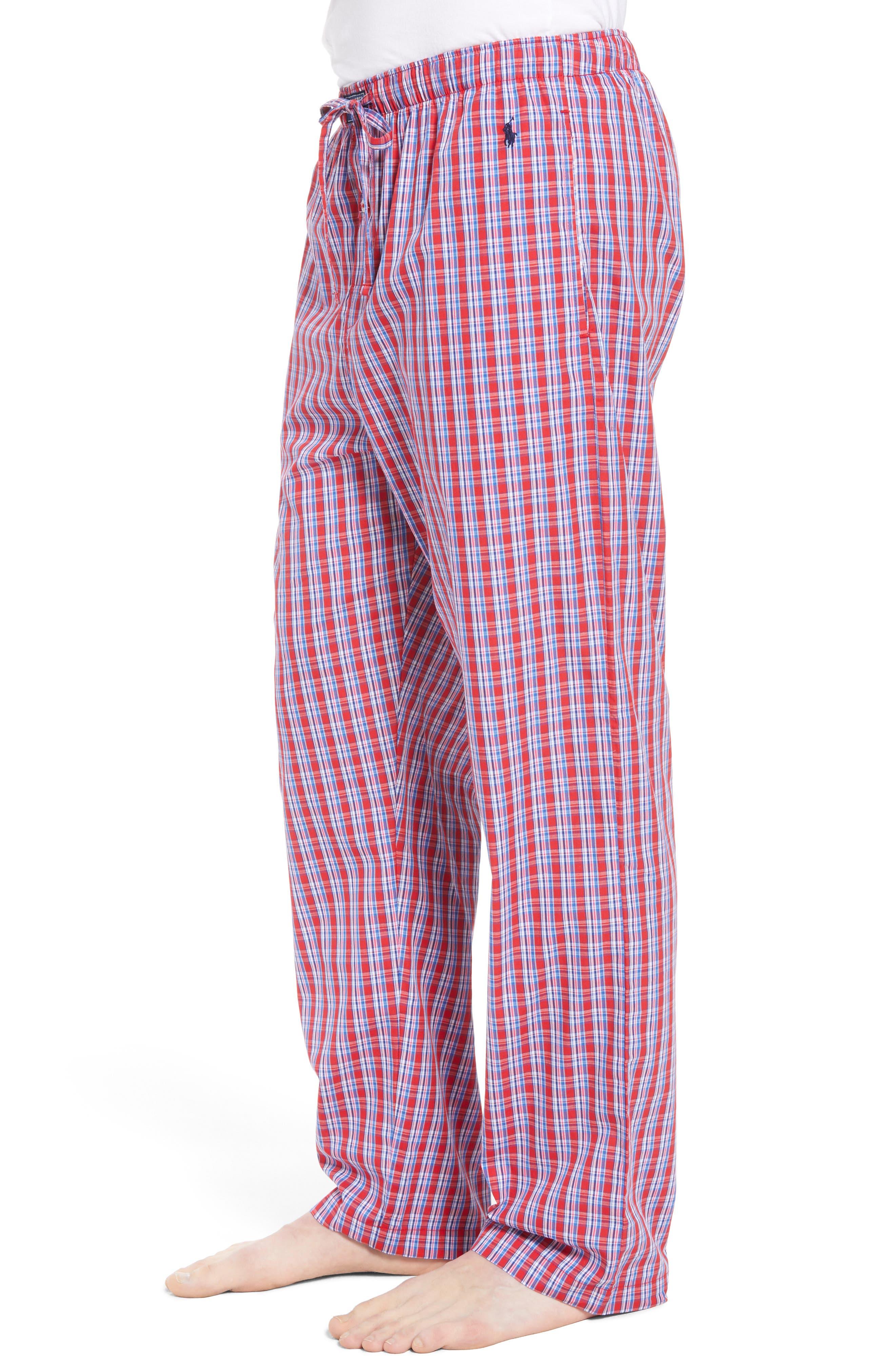 Cotton Lounge Pants,                             Alternate thumbnail 3, color,                             NEWPORT PLAID/ NAVY