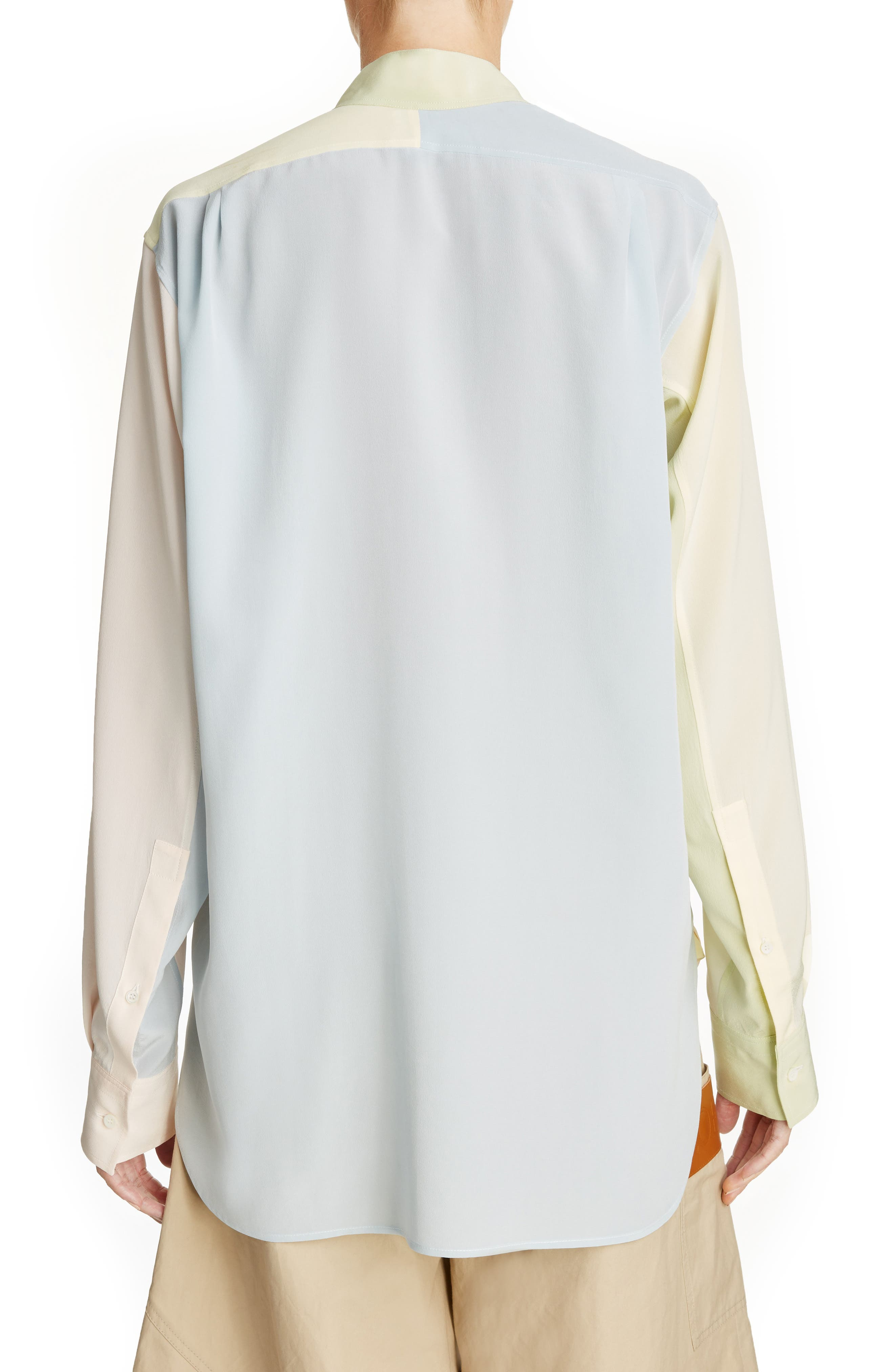 Asymmetrical Patchwork Silk Shirt,                             Alternate thumbnail 2, color,
