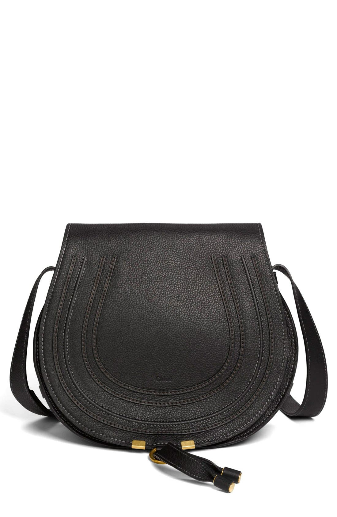 'Marcie - Medium' Leather Crossbody Bag,                         Main,                         color, BLACK GOLD HRDWRE