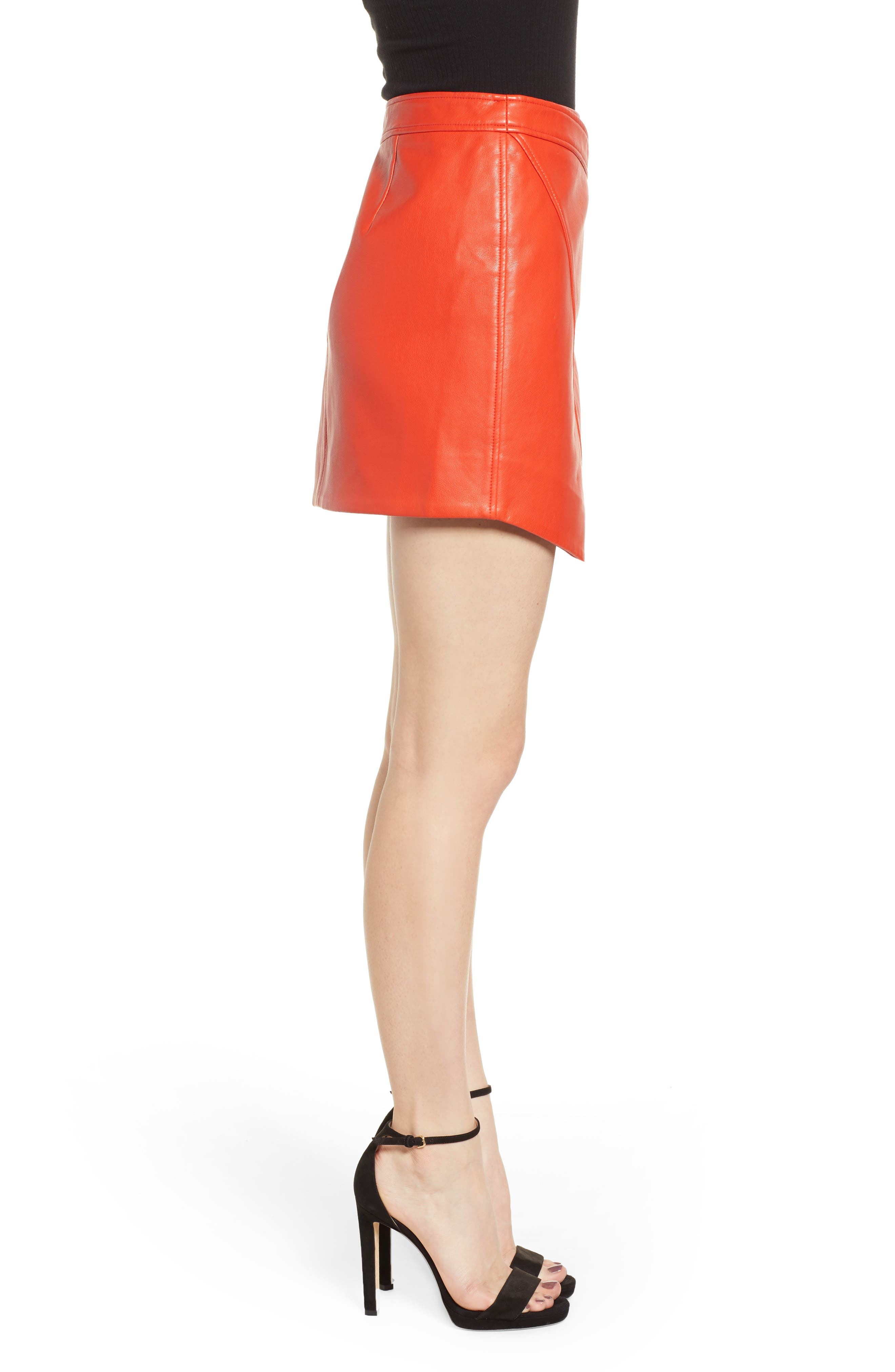BLANKNYC,                             Asymmetrical Latch Detail Vegan Leather Miniskirt,                             Alternate thumbnail 3, color,                             SAFE WORD