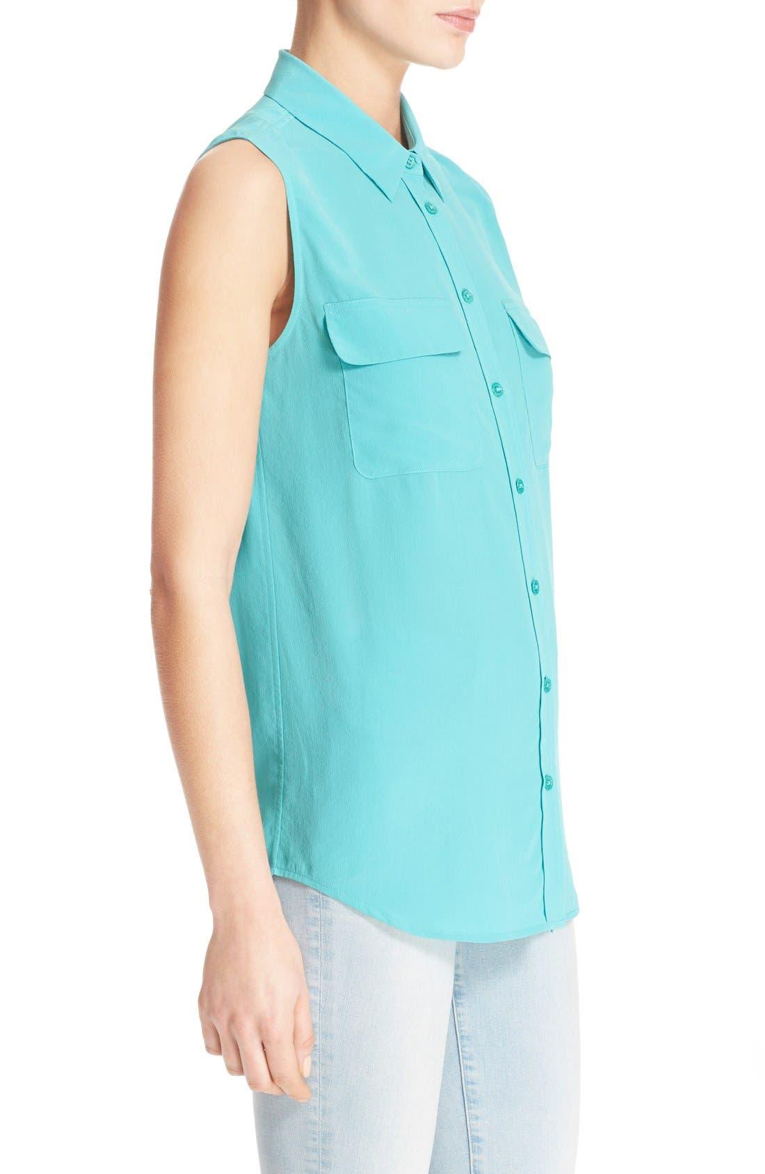 'Slim Signature' Sleeveless Silk Shirt,                             Alternate thumbnail 64, color,