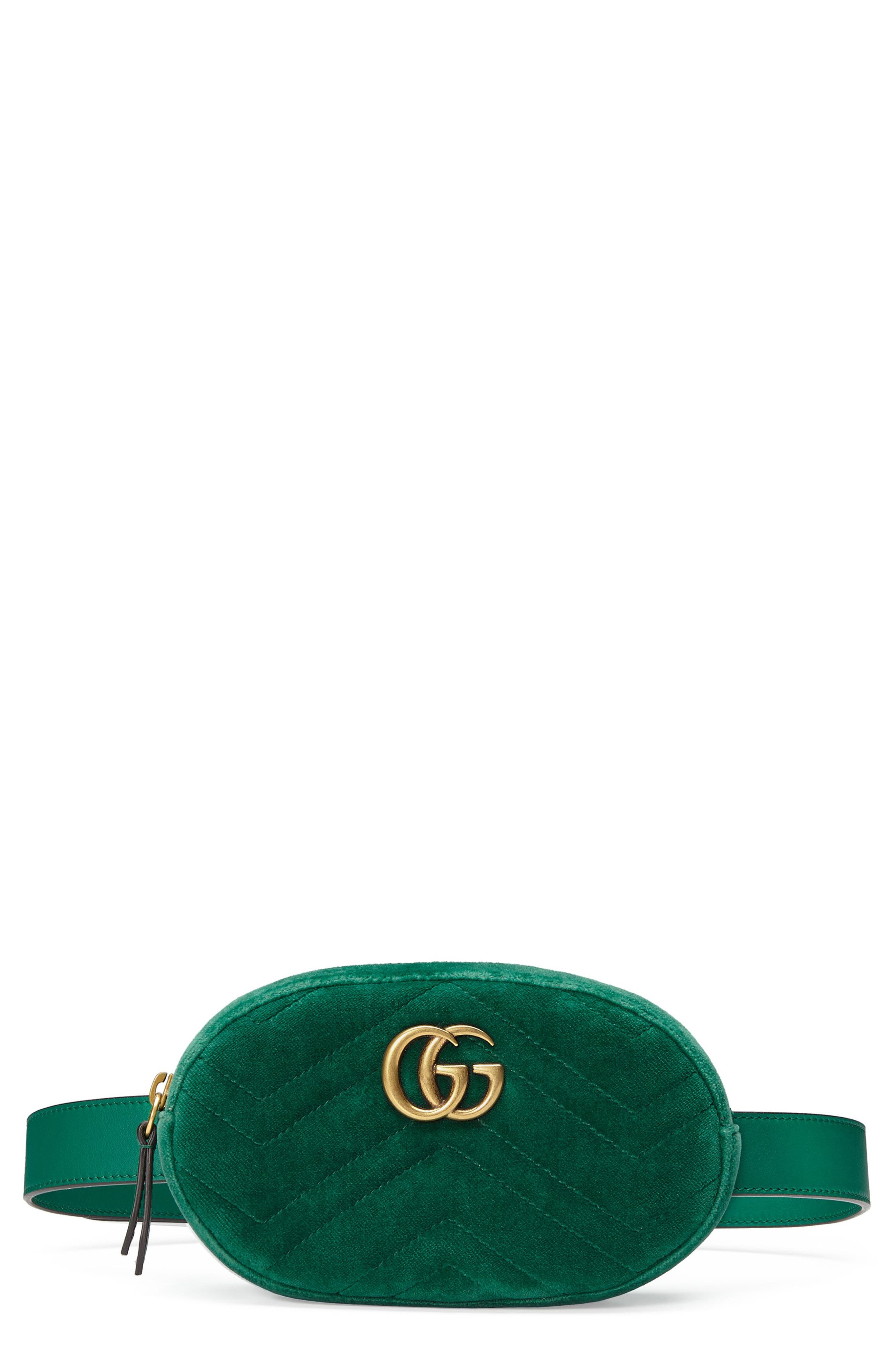 Small GG Marmont 2.0 Velvet Belt Bag,                             Main thumbnail 1, color,                             EMERALD/ EMERALD