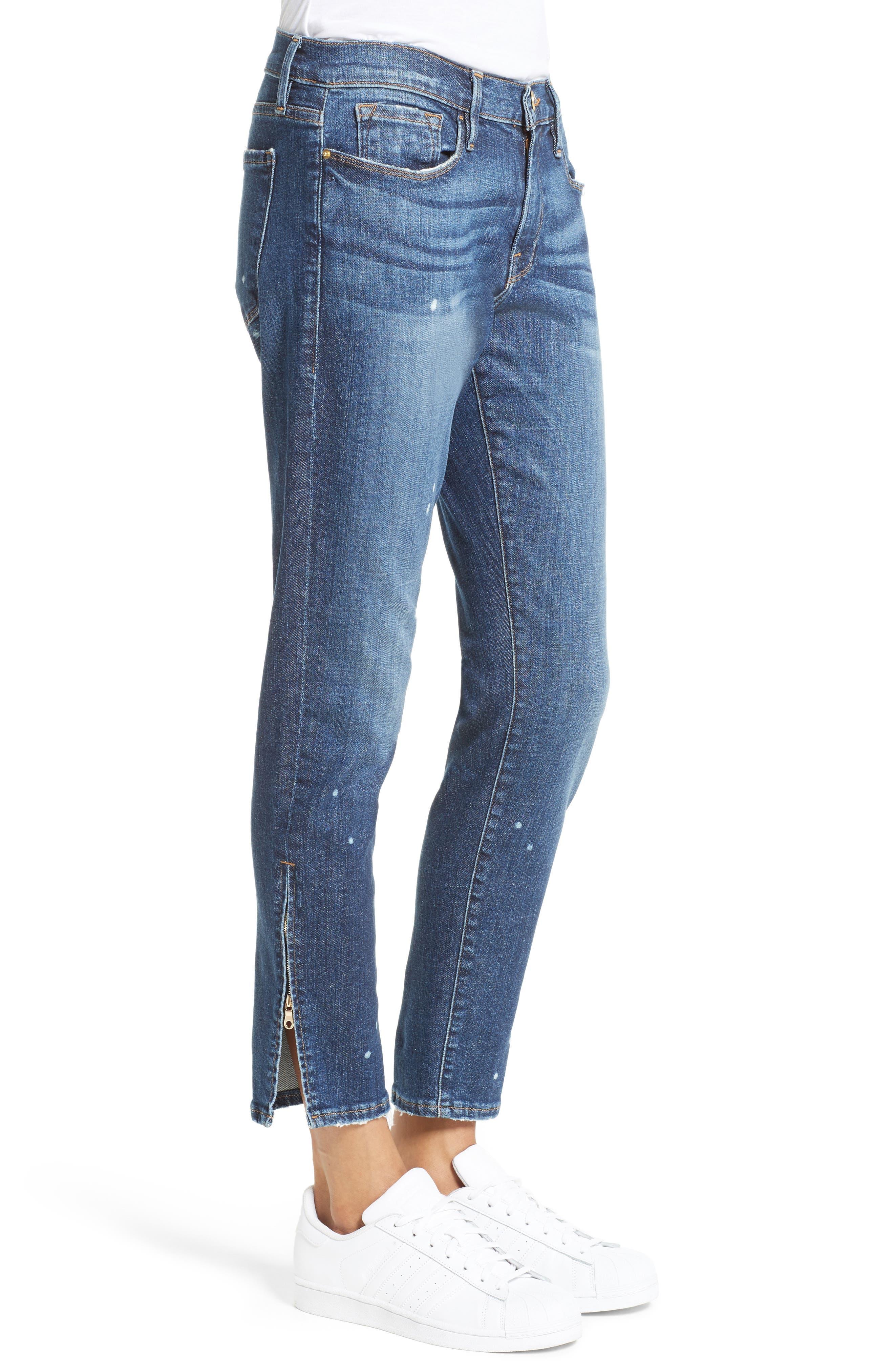 Le Garcon Slim Zip Hem Jeans,                             Alternate thumbnail 3, color,                             420