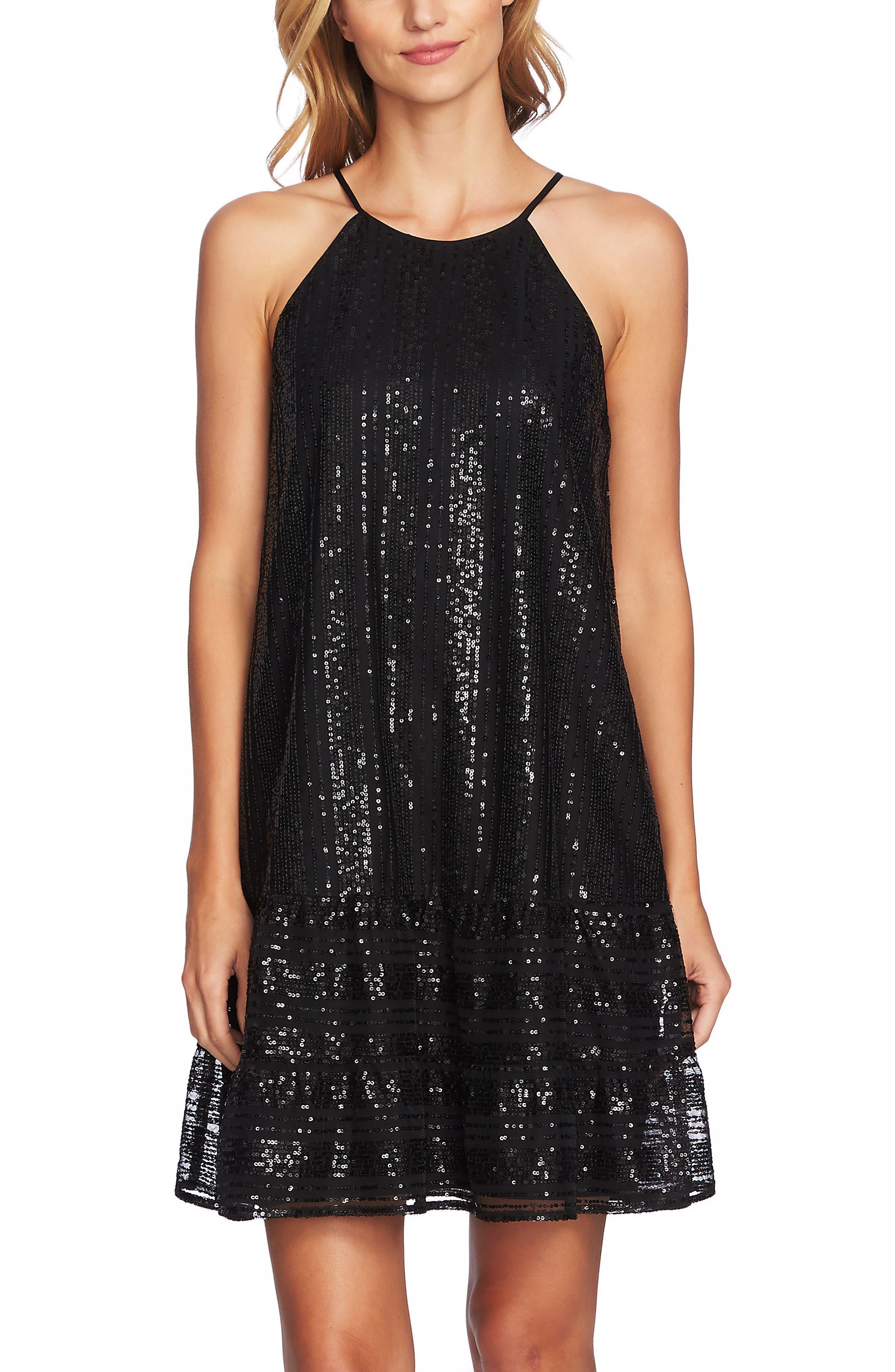 Sequin Ruffle Trim Dress,                             Alternate thumbnail 6, color,                             RICH BLACK