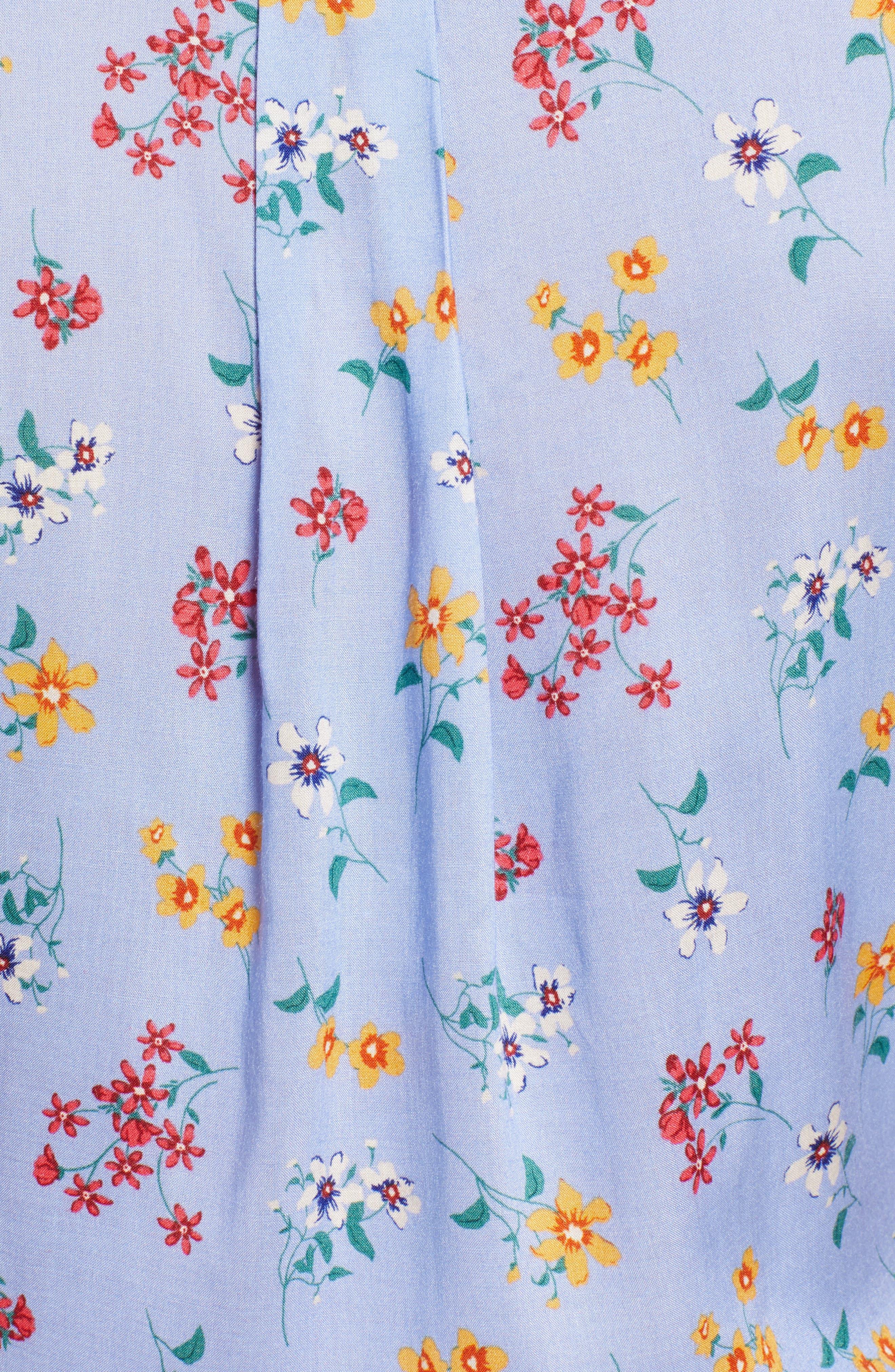 Floral Tie Hem Flutter Sleeve Top,                             Alternate thumbnail 5, color,                             400