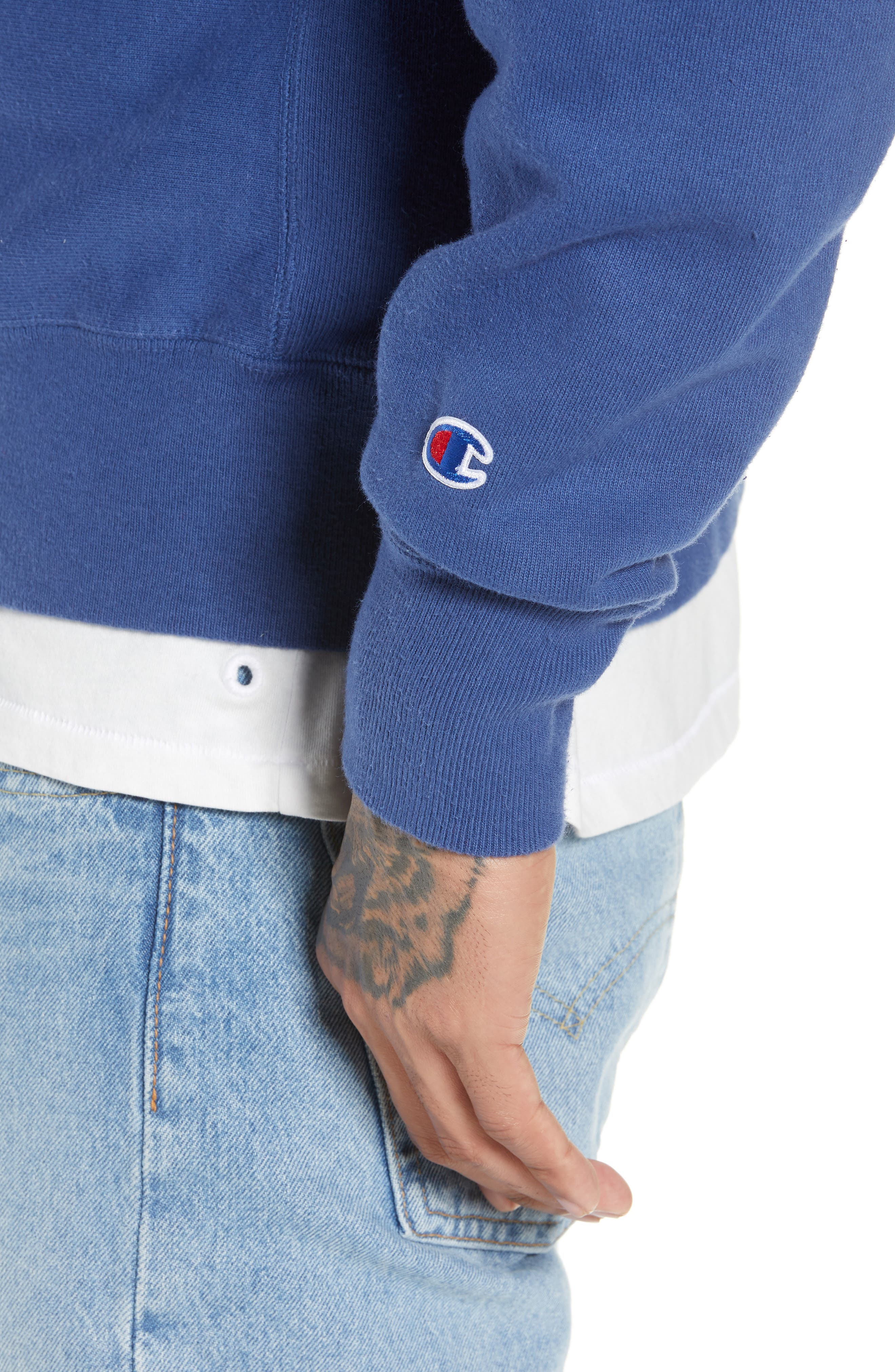 Reverse Weave<sup>®</sup> Snoopy Sweatshirt,                             Alternate thumbnail 4, color,                             DUTCH BLUE