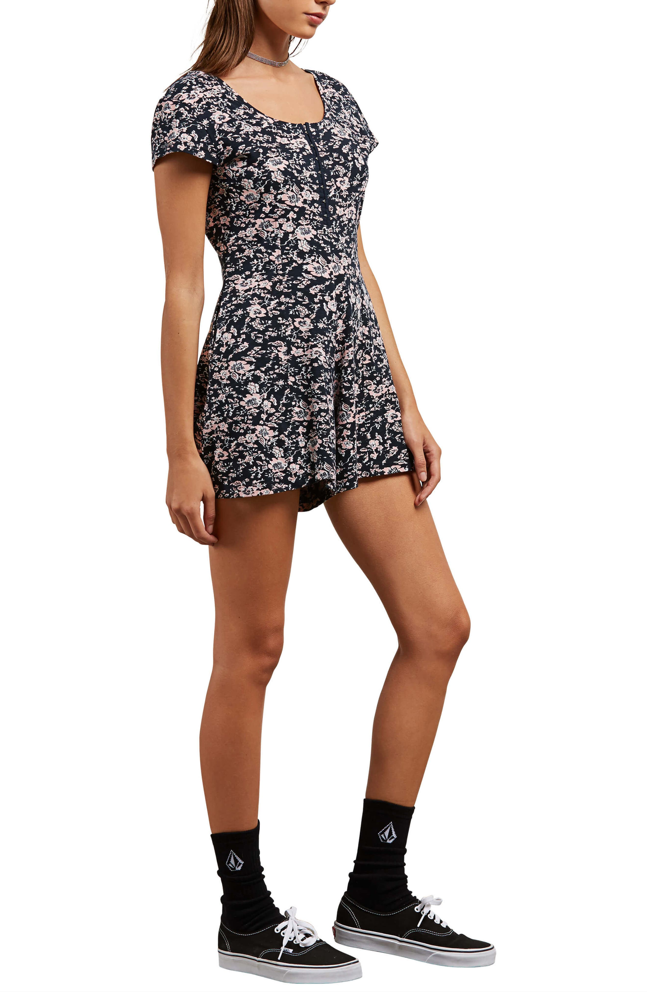 What a Looker Floral Print Romper,                             Alternate thumbnail 3, color,                             663
