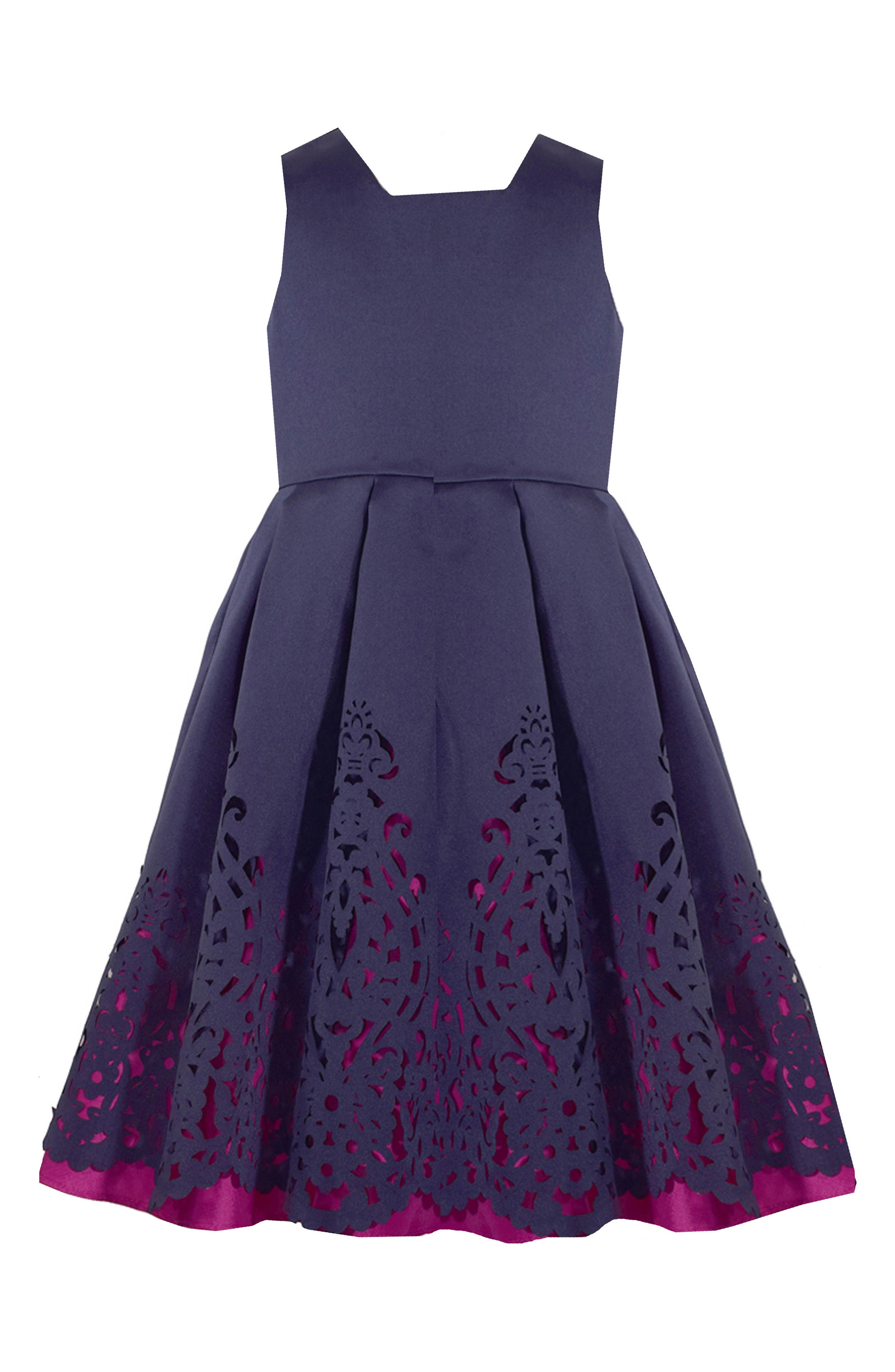Mikado Fit & Flare Dress,                             Main thumbnail 1, color,                             NAVY