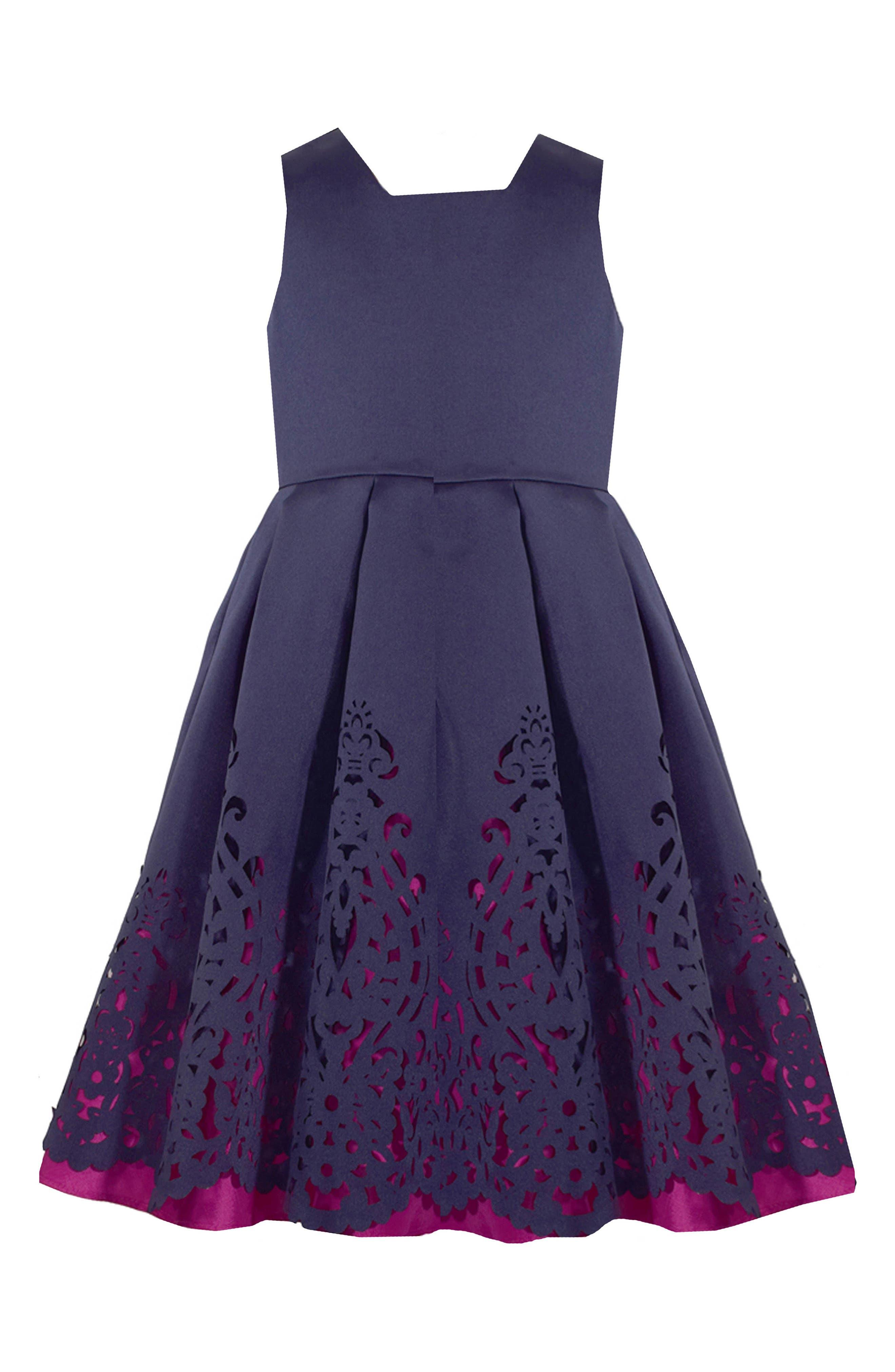 Mikado Fit & Flare Dress,                             Main thumbnail 1, color,                             410