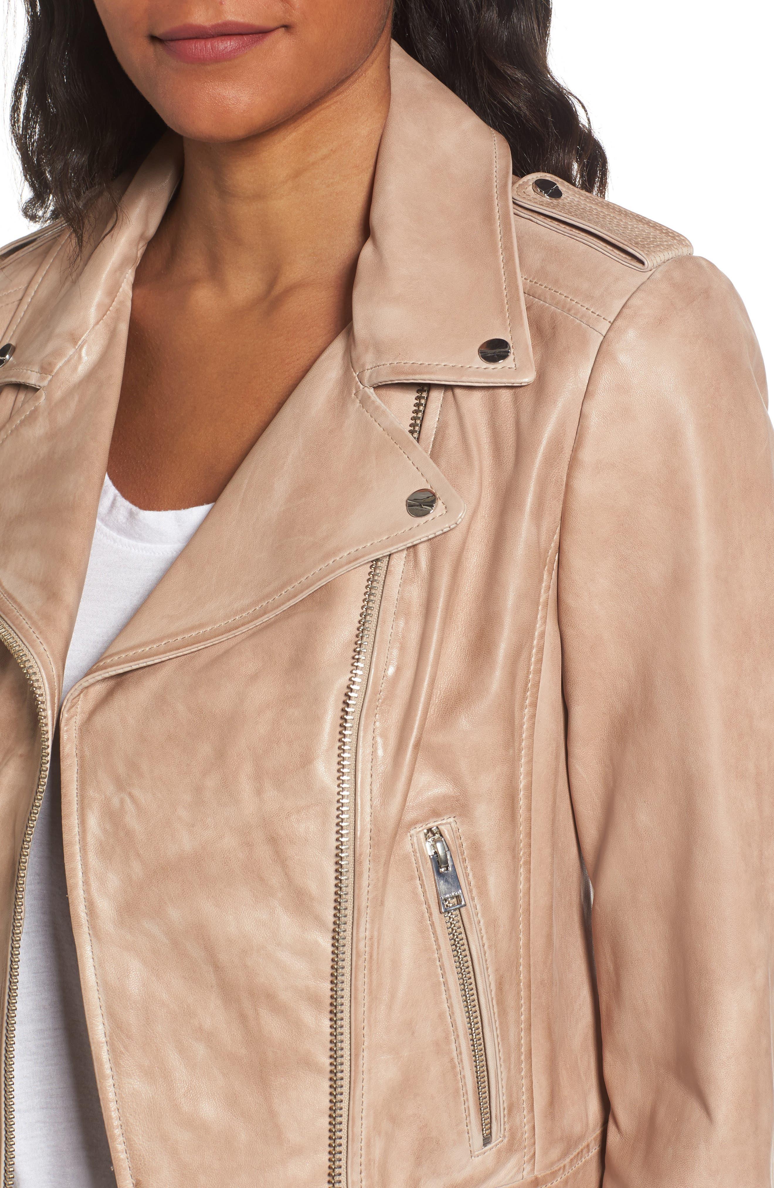 Donna Lambskin Leather Moto Jacket,                             Alternate thumbnail 4, color,                             253
