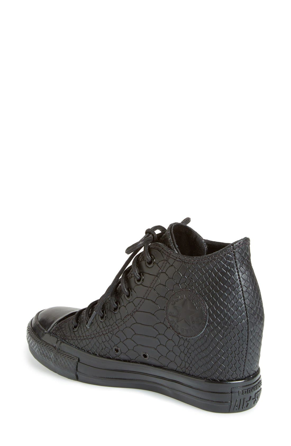 Chuck Taylor<sup>®</sup> All Star<sup>®</sup> 'Embossed Reptile' Wedge Sneaker,                             Alternate thumbnail 3, color,                             001