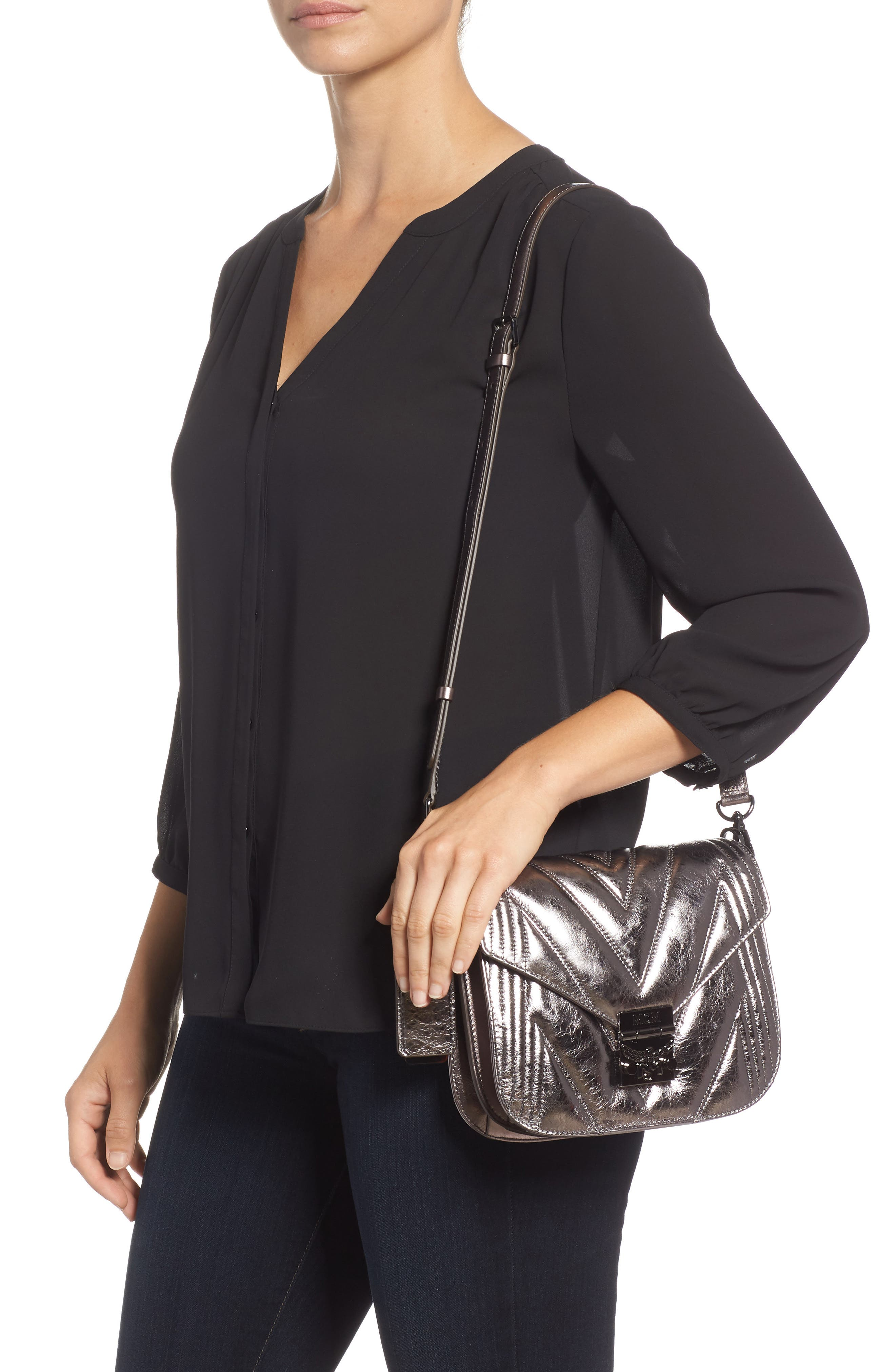Patricia Quilted Metallic Leather Saddle Bag,                             Alternate thumbnail 2, color,                             040