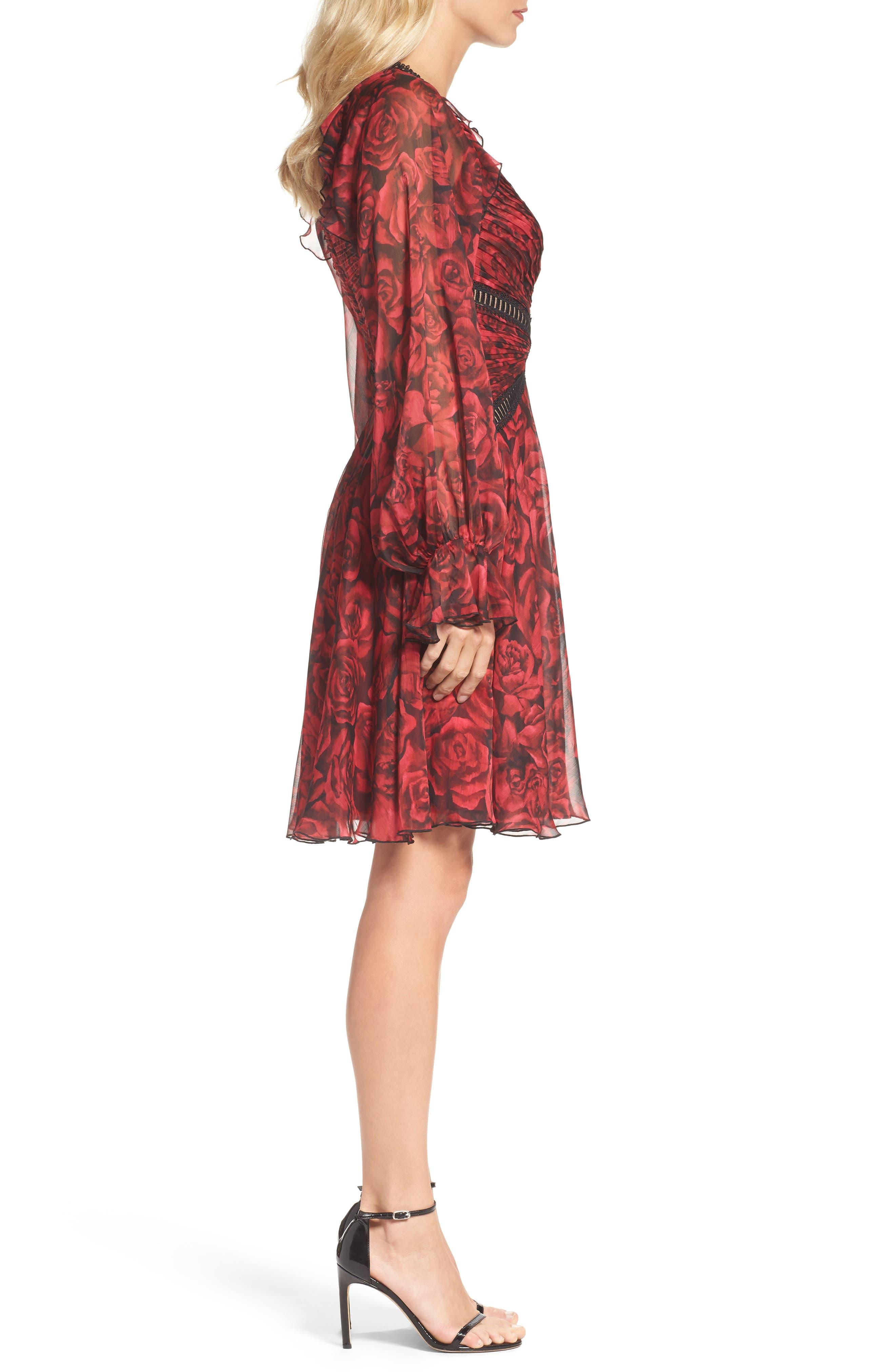 Rose Print Pleated Chiffon Dress,                             Alternate thumbnail 3, color,                             616