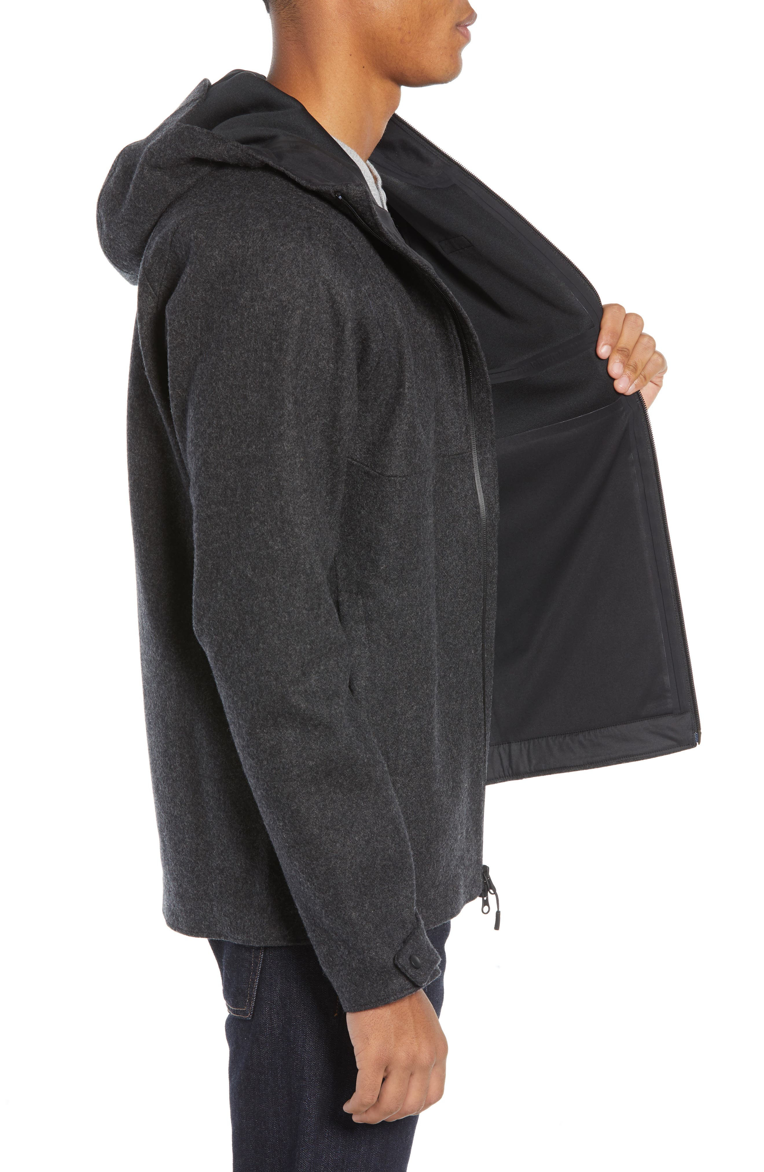 Woolyester Hooded Jacket,                             Alternate thumbnail 3, color,                             FORGE GREY