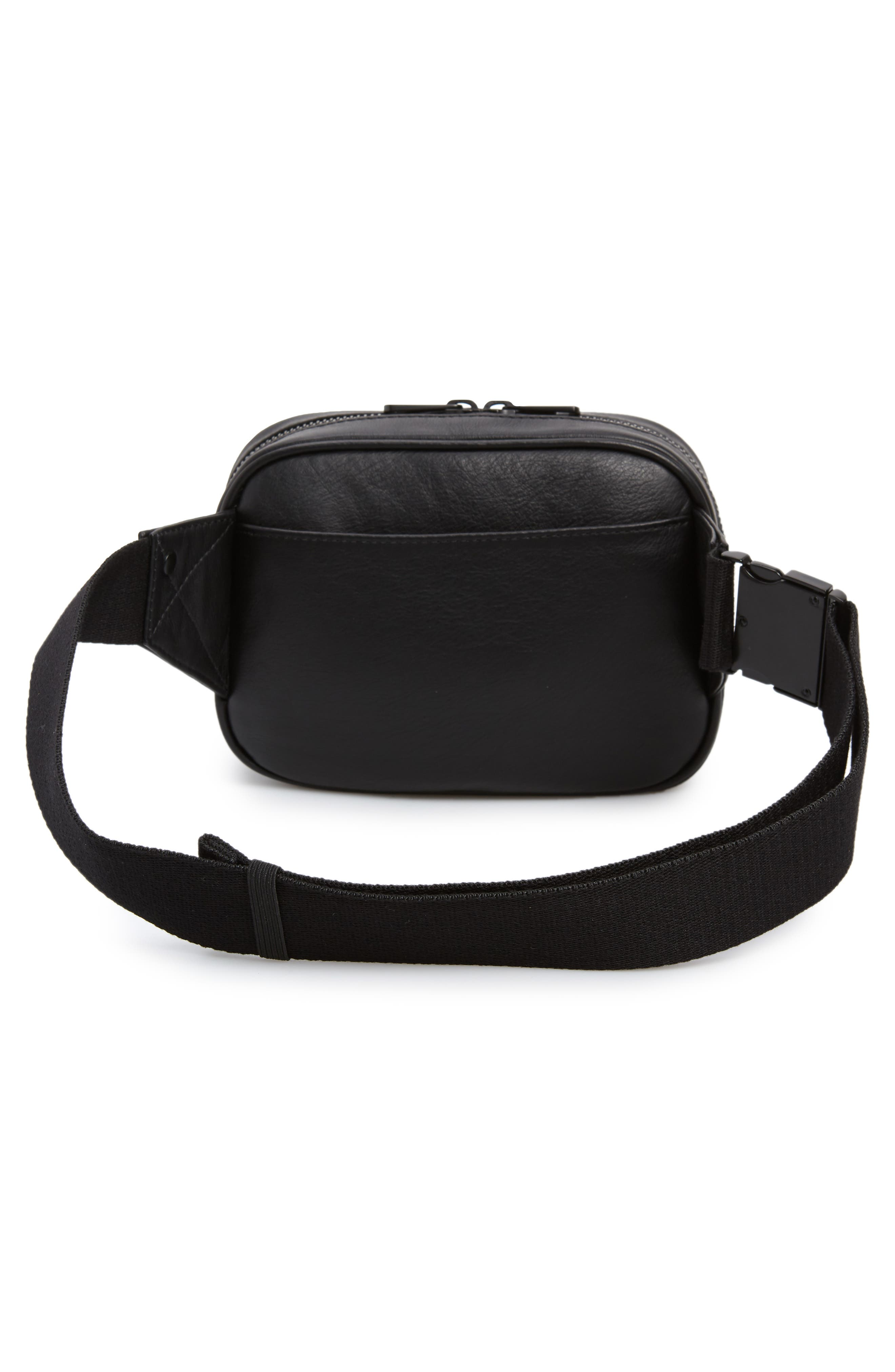 Homecrest Crosby Leather Belt Bag,                             Alternate thumbnail 4, color,                             BLACK