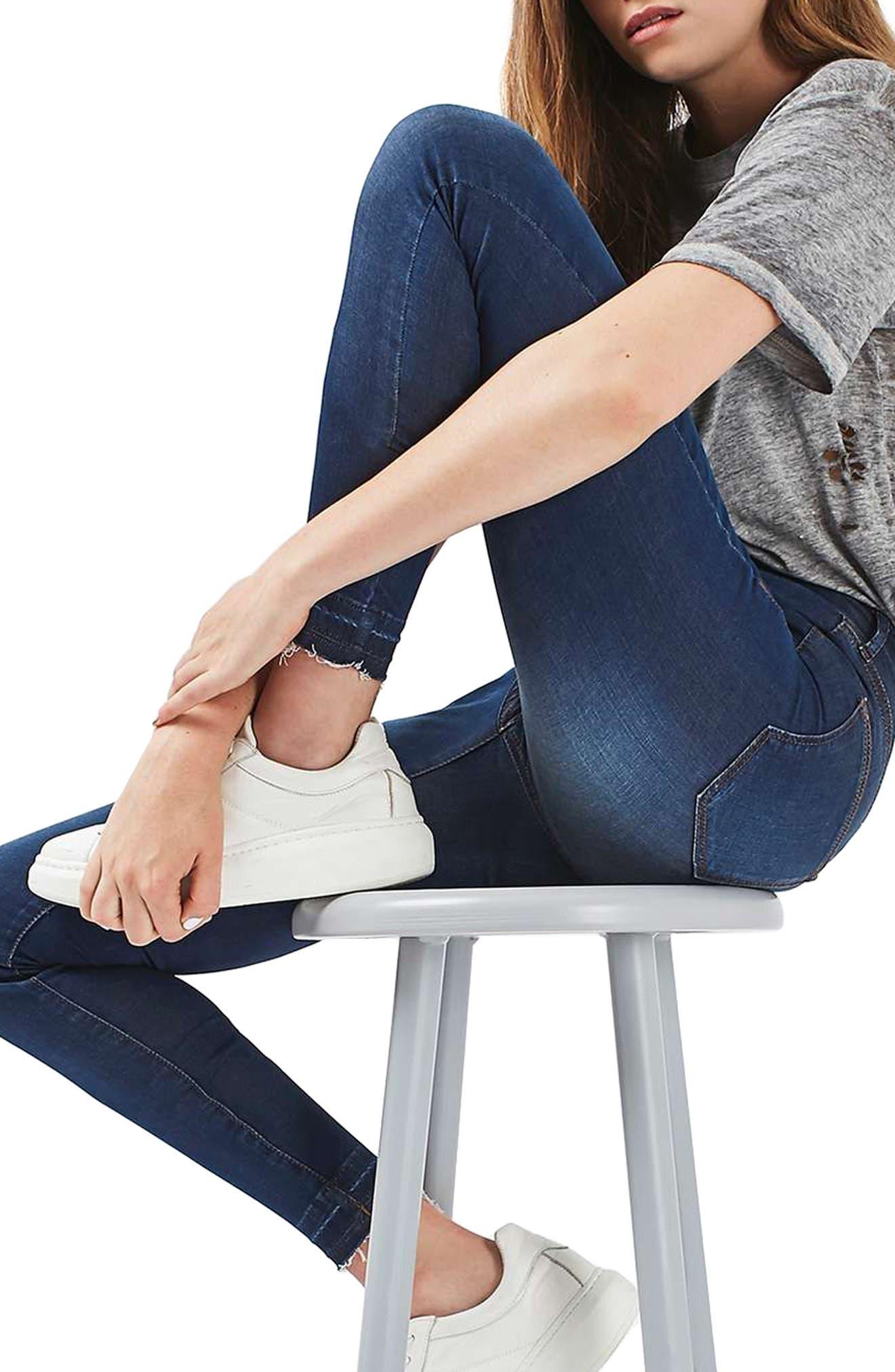 Leigh Release Hem Skinny Jeans,                             Alternate thumbnail 3, color,                             401