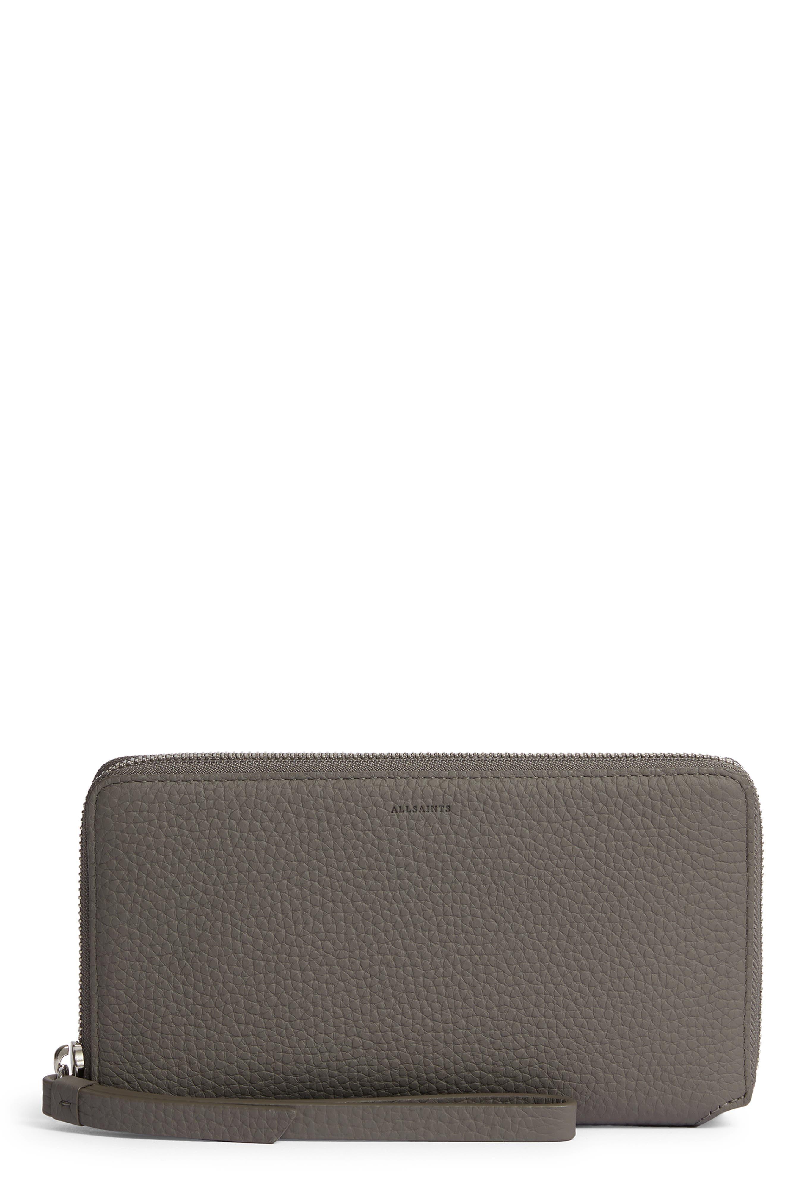 Fetch Leather Phone Wristlet,                             Main thumbnail 1, color,                             STORM GREY