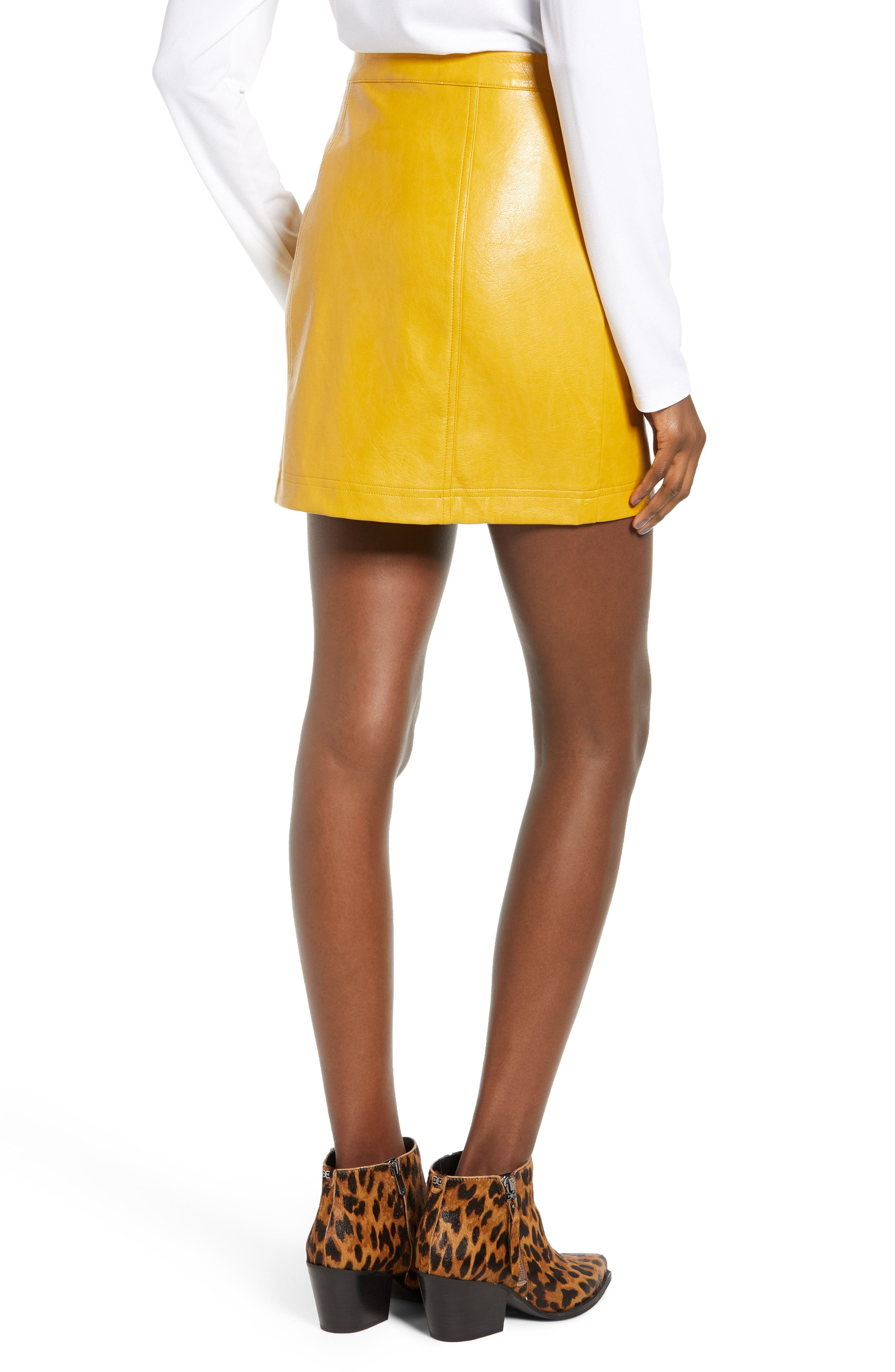 Zip Front Faux Leather Miniskirt,                             Alternate thumbnail 2, color,                             MUSTARD