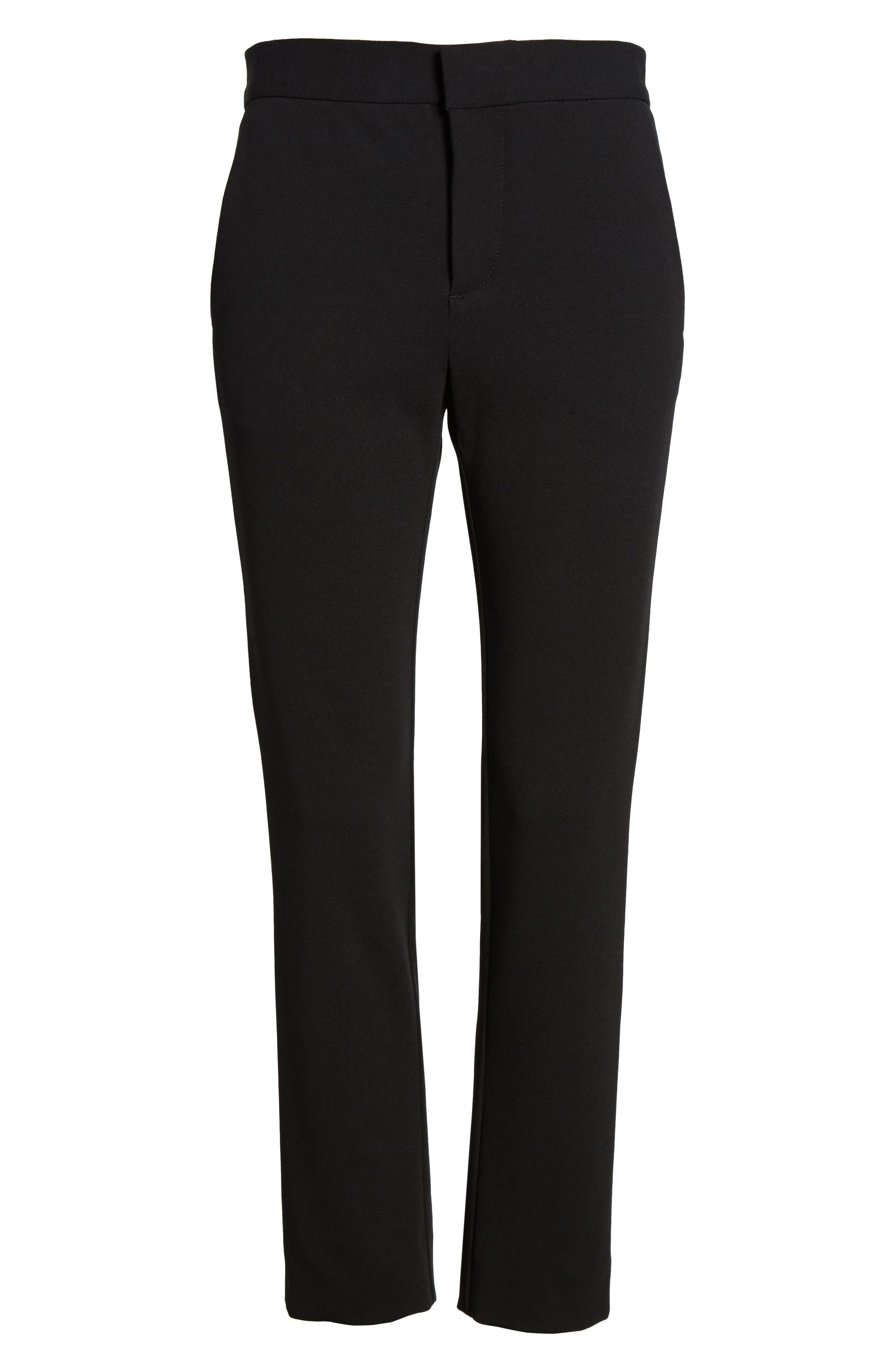 Lou Lou High Waist Crop Slim Trousers,                             Alternate thumbnail 6, color,                             001