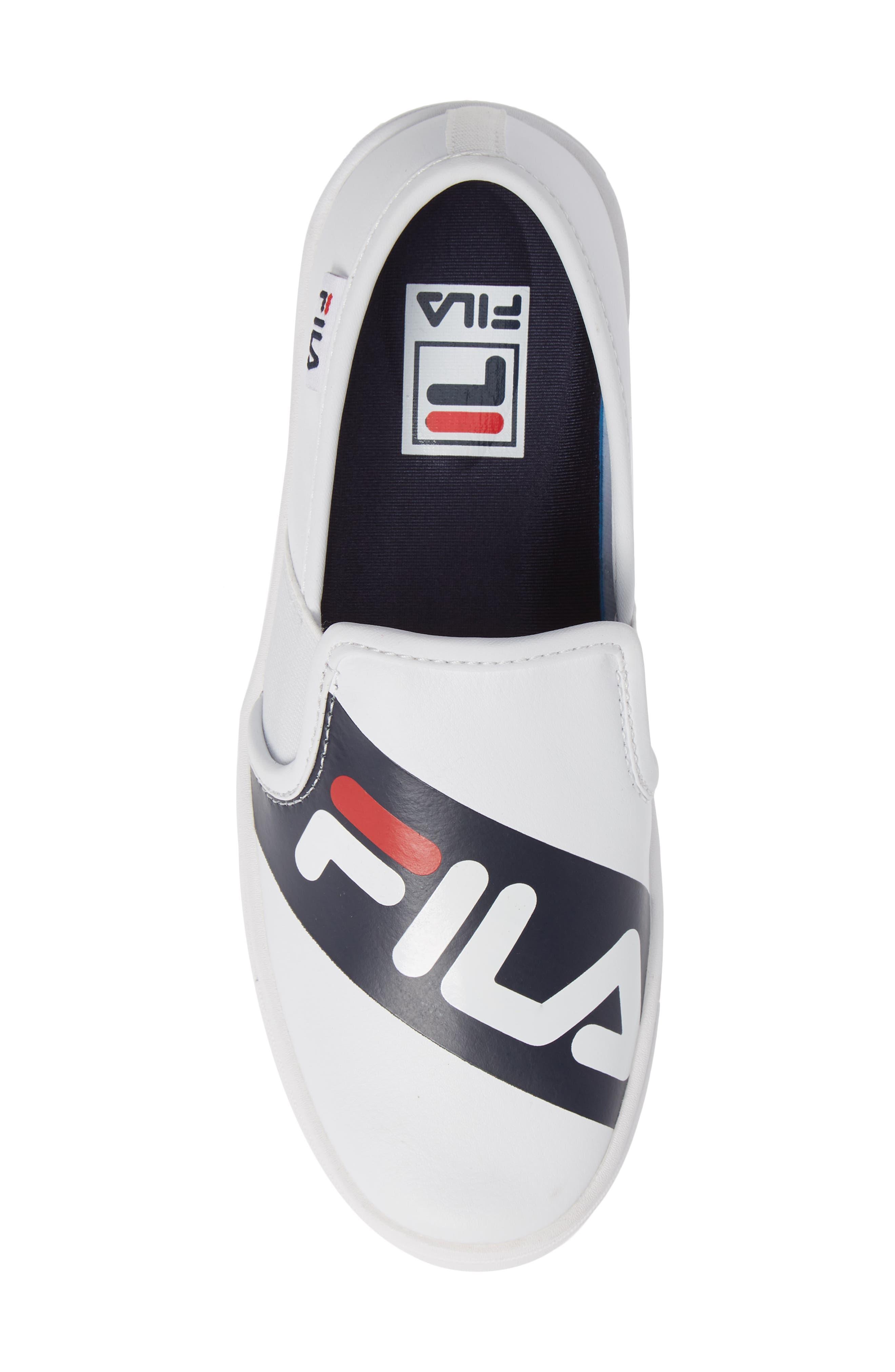 Original Slip-On Sneaker,                             Alternate thumbnail 5, color,                             WHT/ FNVY/ RED