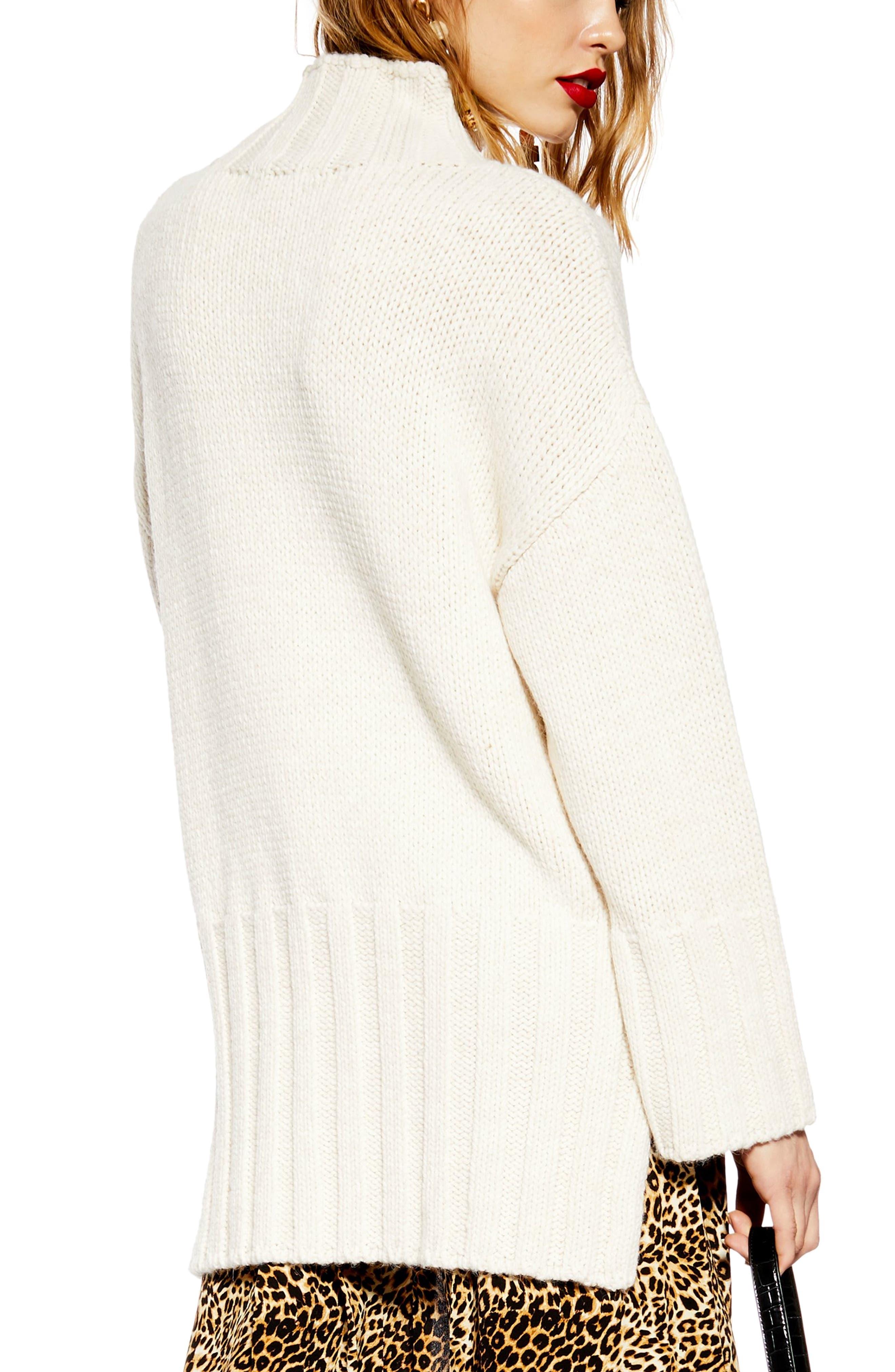 Oversize Longline Sweater,                             Alternate thumbnail 2, color,                             IVORY