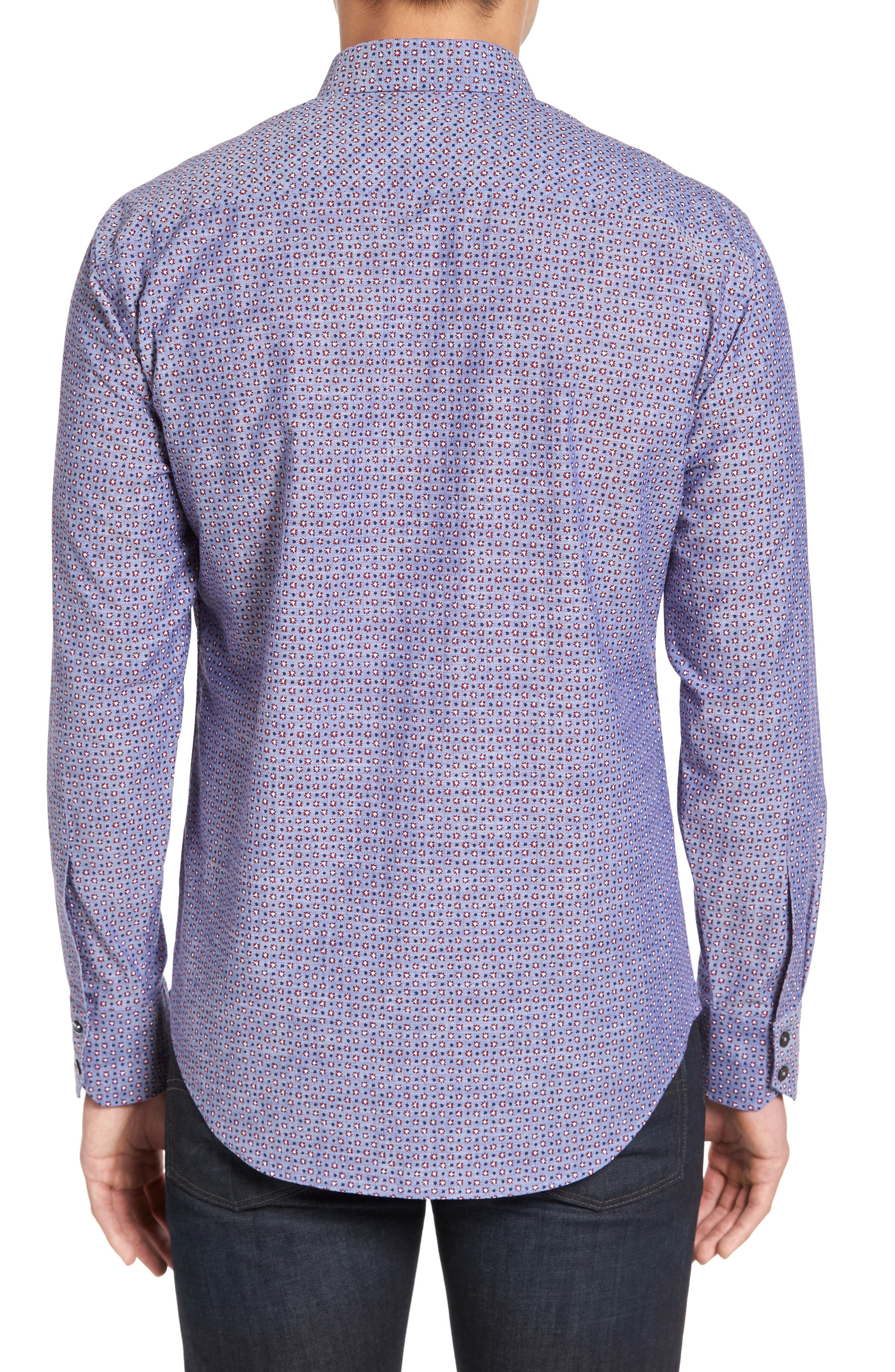 Chernow Trim Fit Print Sport Shirt,                             Alternate thumbnail 2, color,                             412