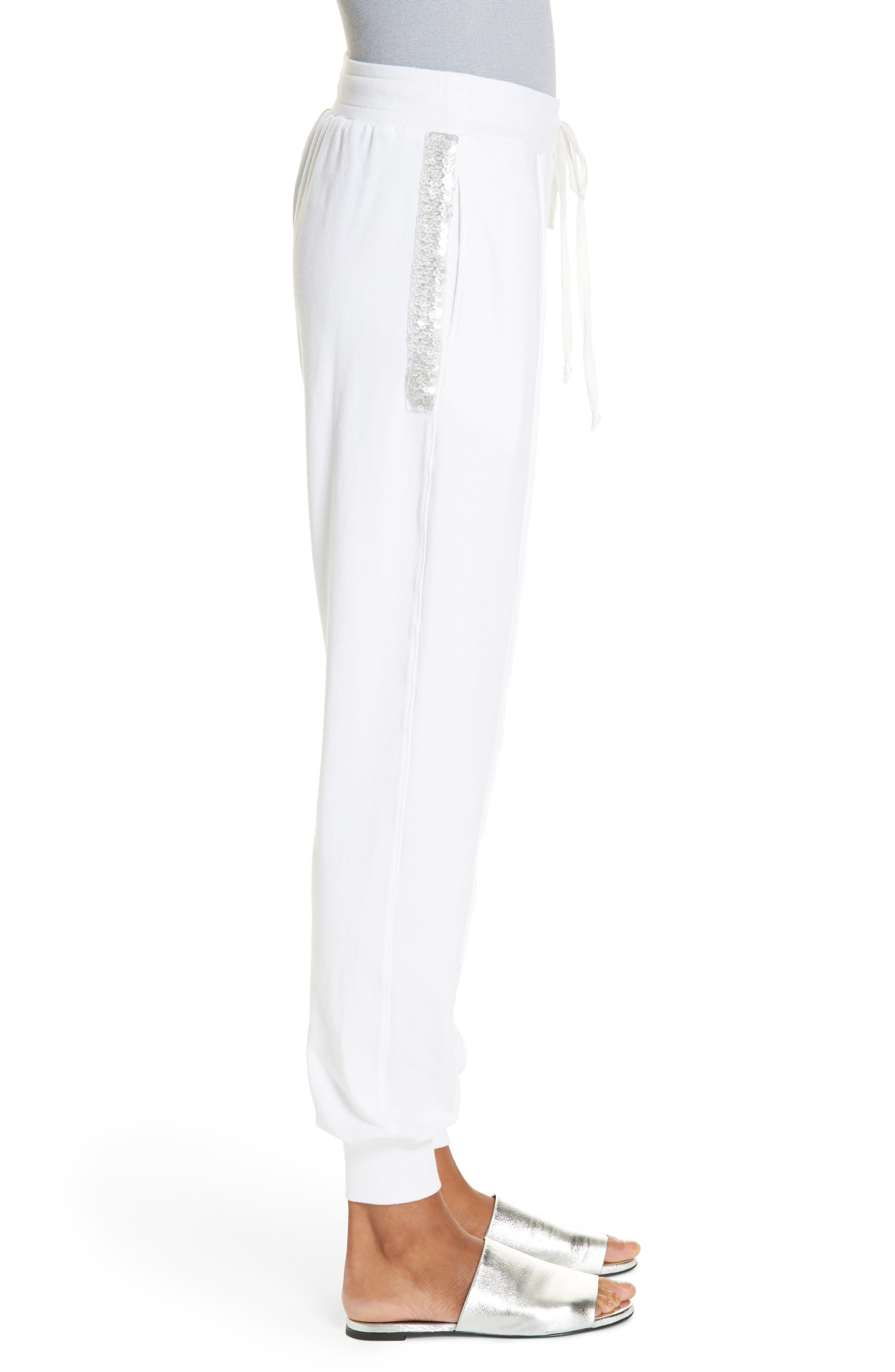 Sequin Cotton Blend Jogger Pants,                             Alternate thumbnail 3, color,                             WHITE