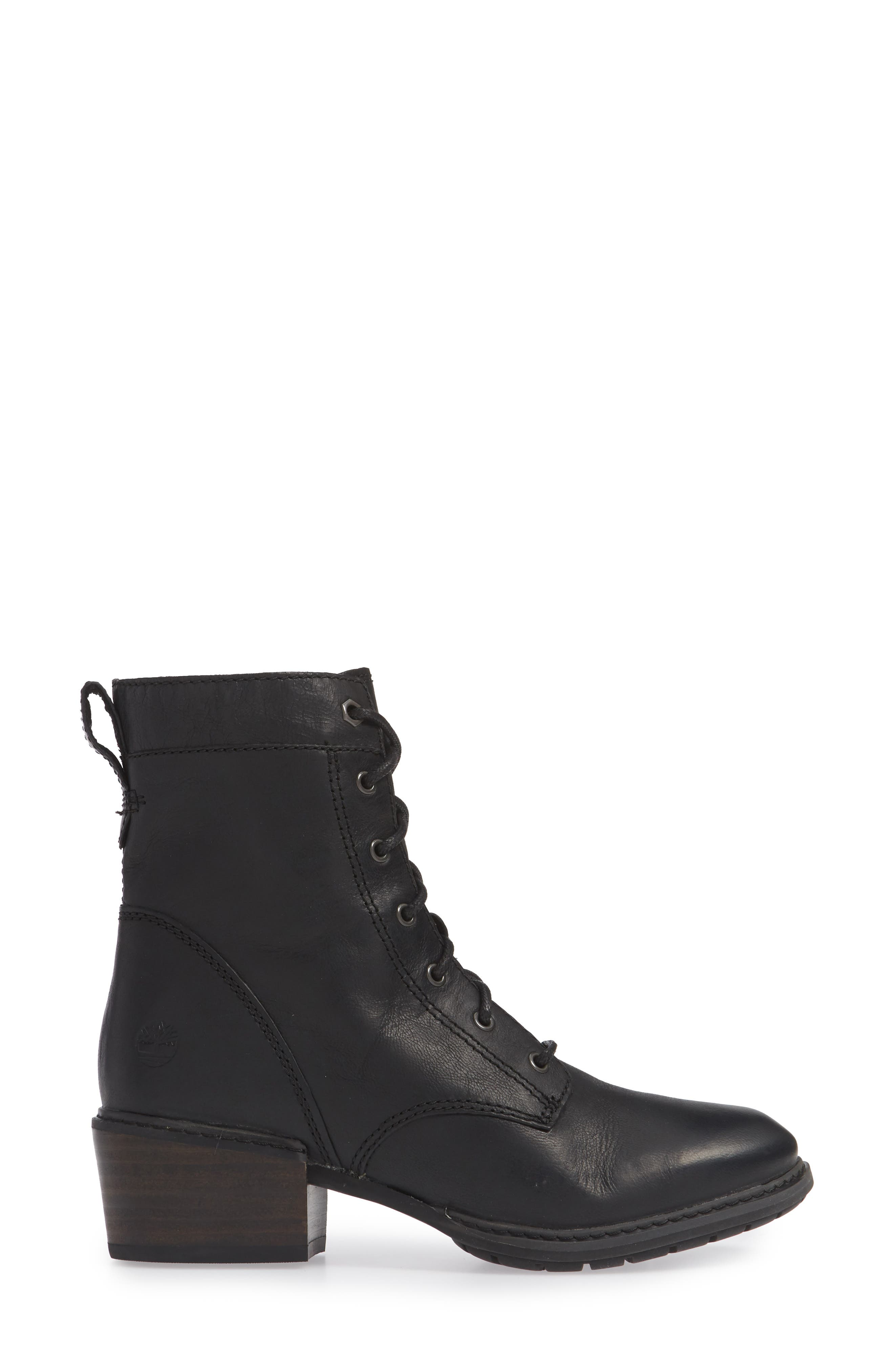 Sutherlin Bay Water Resistant Lace-Up Bootie,                             Alternate thumbnail 3, color,                             JET BLACK LEATHER