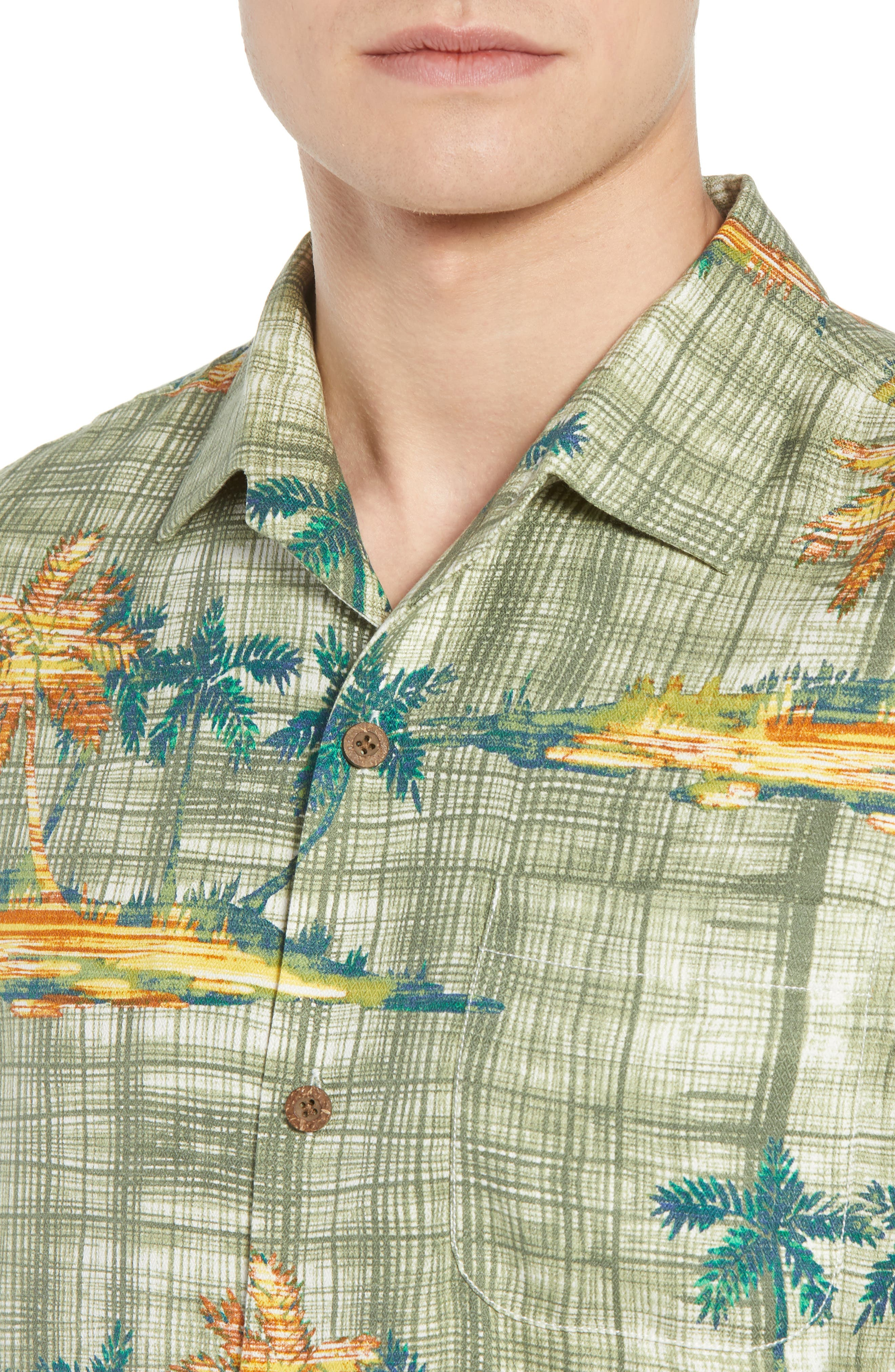 Zama Palms Silk Blend Camp Shirt,                             Alternate thumbnail 4, color,