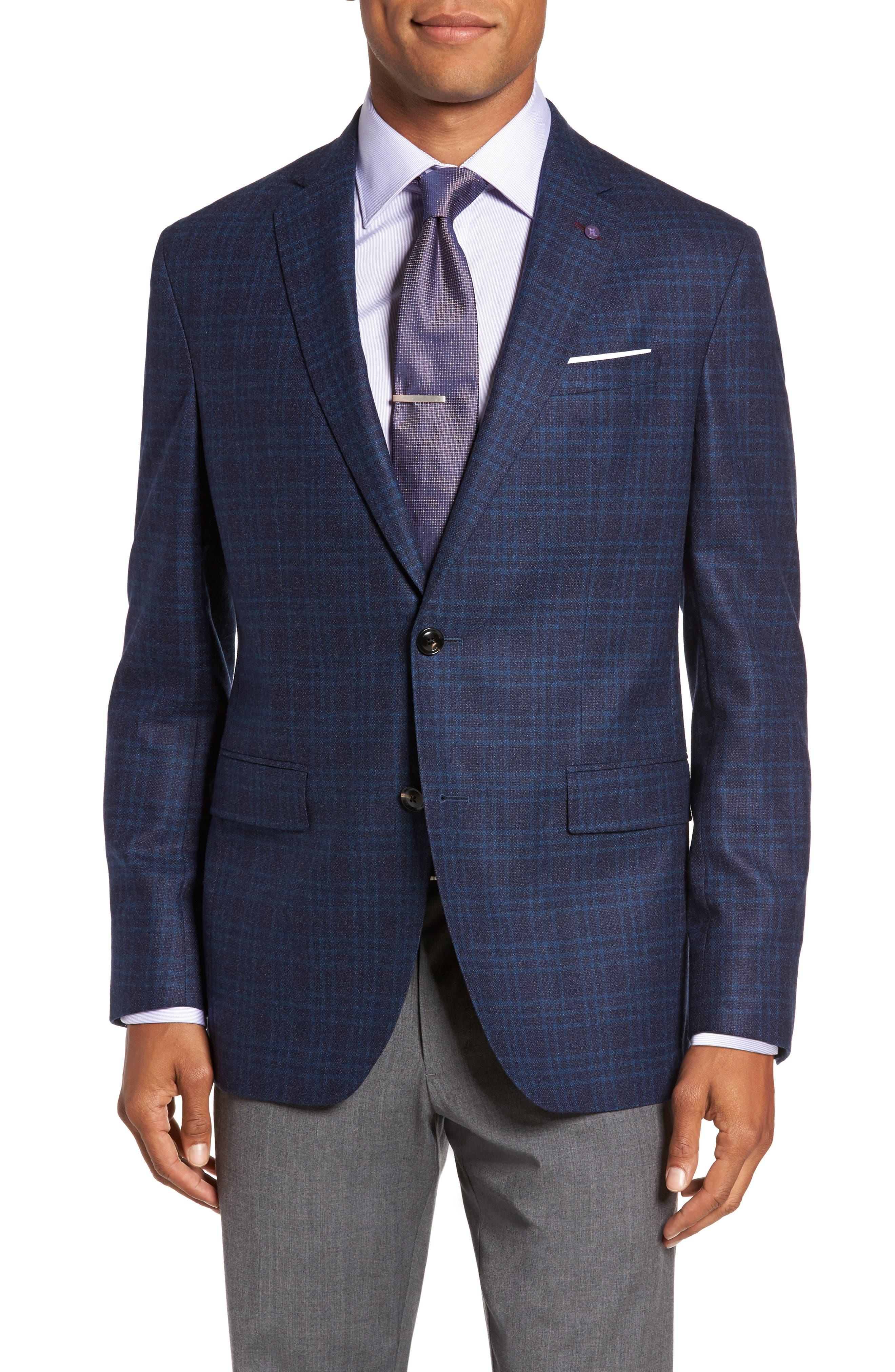 Trim Fit Plaid Wool Sport Coat,                         Main,                         color, 400