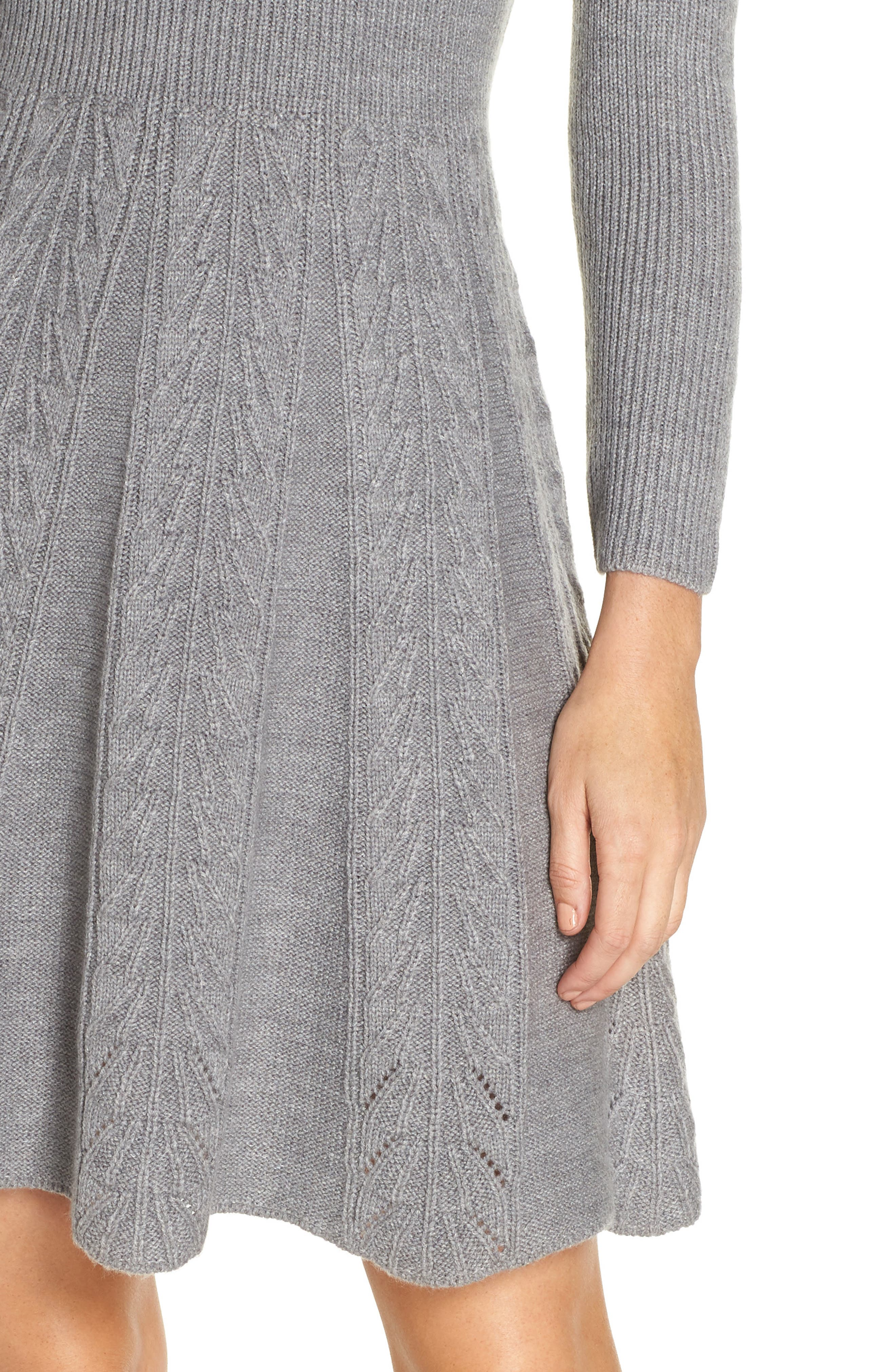 Mock Neck Fit & Flare Sweater Dress,                             Alternate thumbnail 4, color,                             GREY