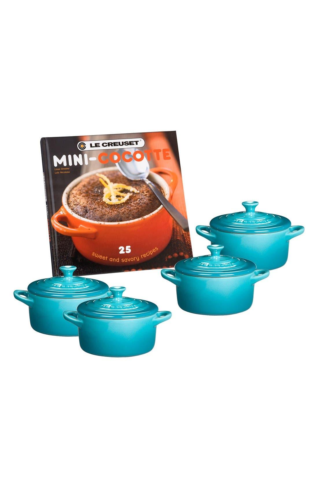 Four Mini Cocottes with Cookbook,                             Main thumbnail 1, color,                             CARIBBEAN