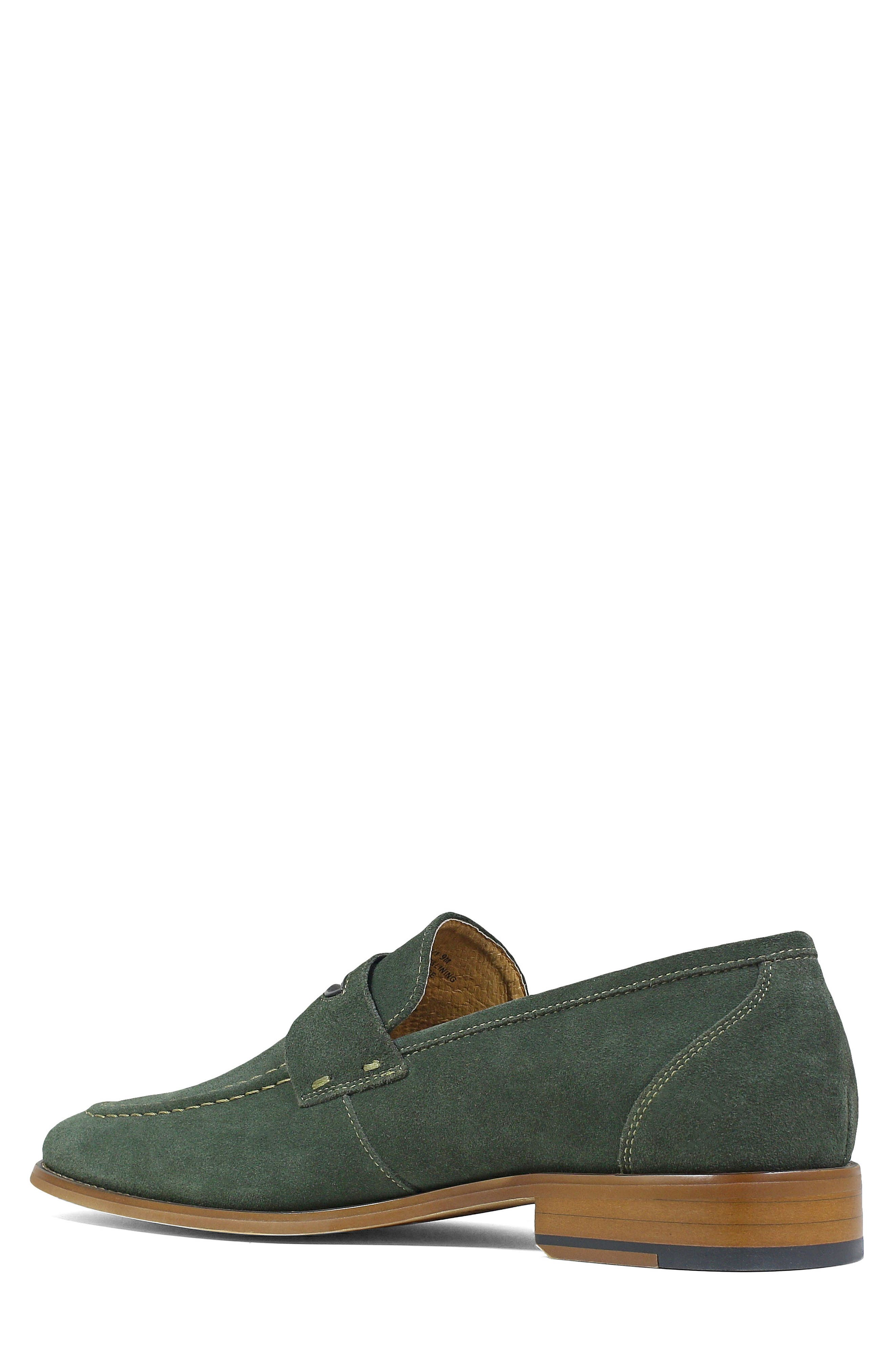 Colfax Apron Toe Penny Loafer,                             Alternate thumbnail 2, color,                             DARK GREEN SUEDE
