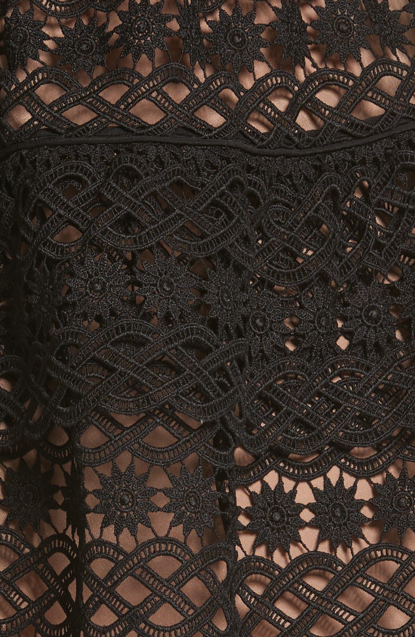 Floral Chain Lace One-Shoulder Dress,                             Alternate thumbnail 5, color,                             001