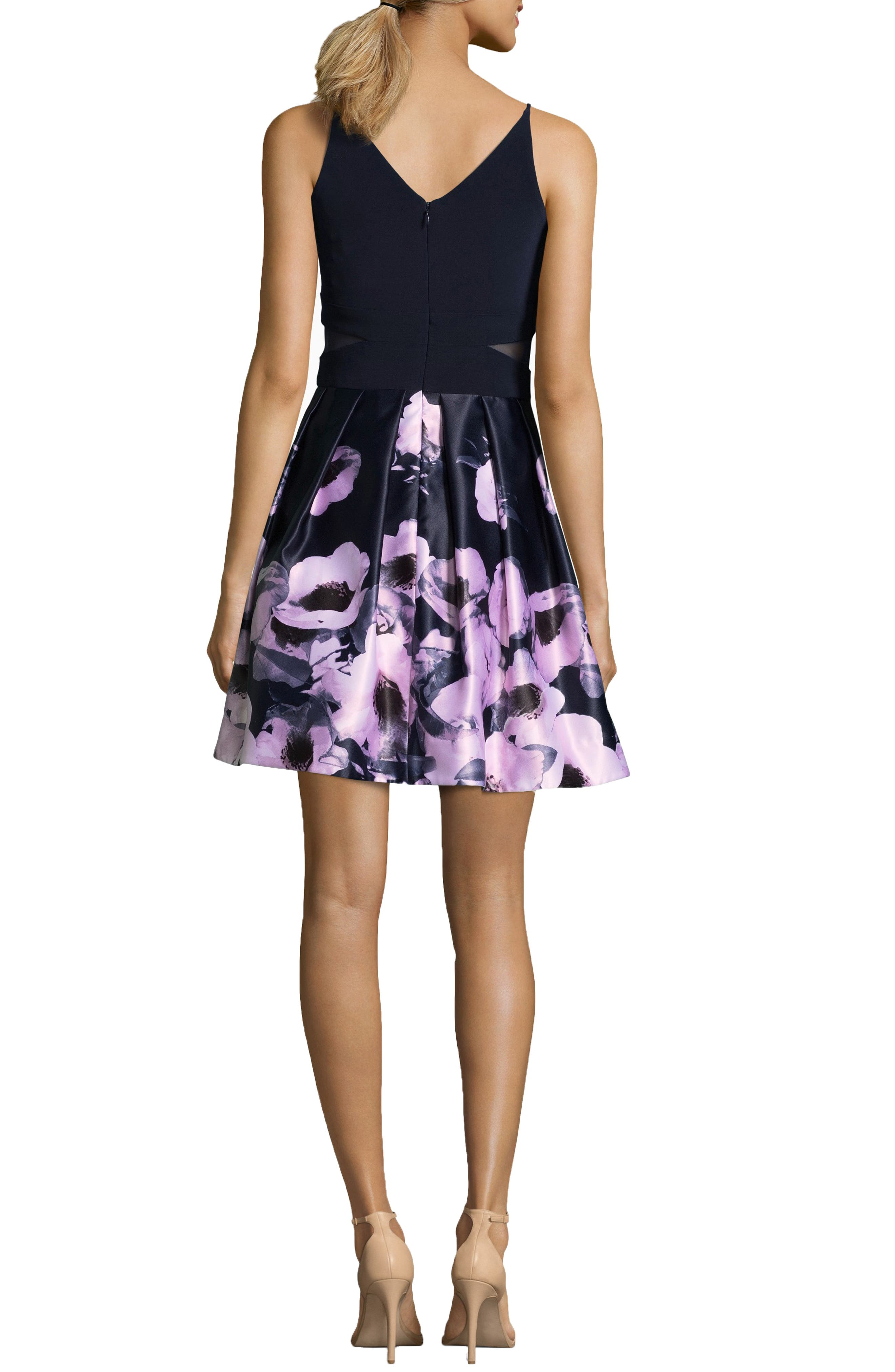Floral Skirt Party Dress,                             Alternate thumbnail 2, color,                             NAVY/ BLUSH