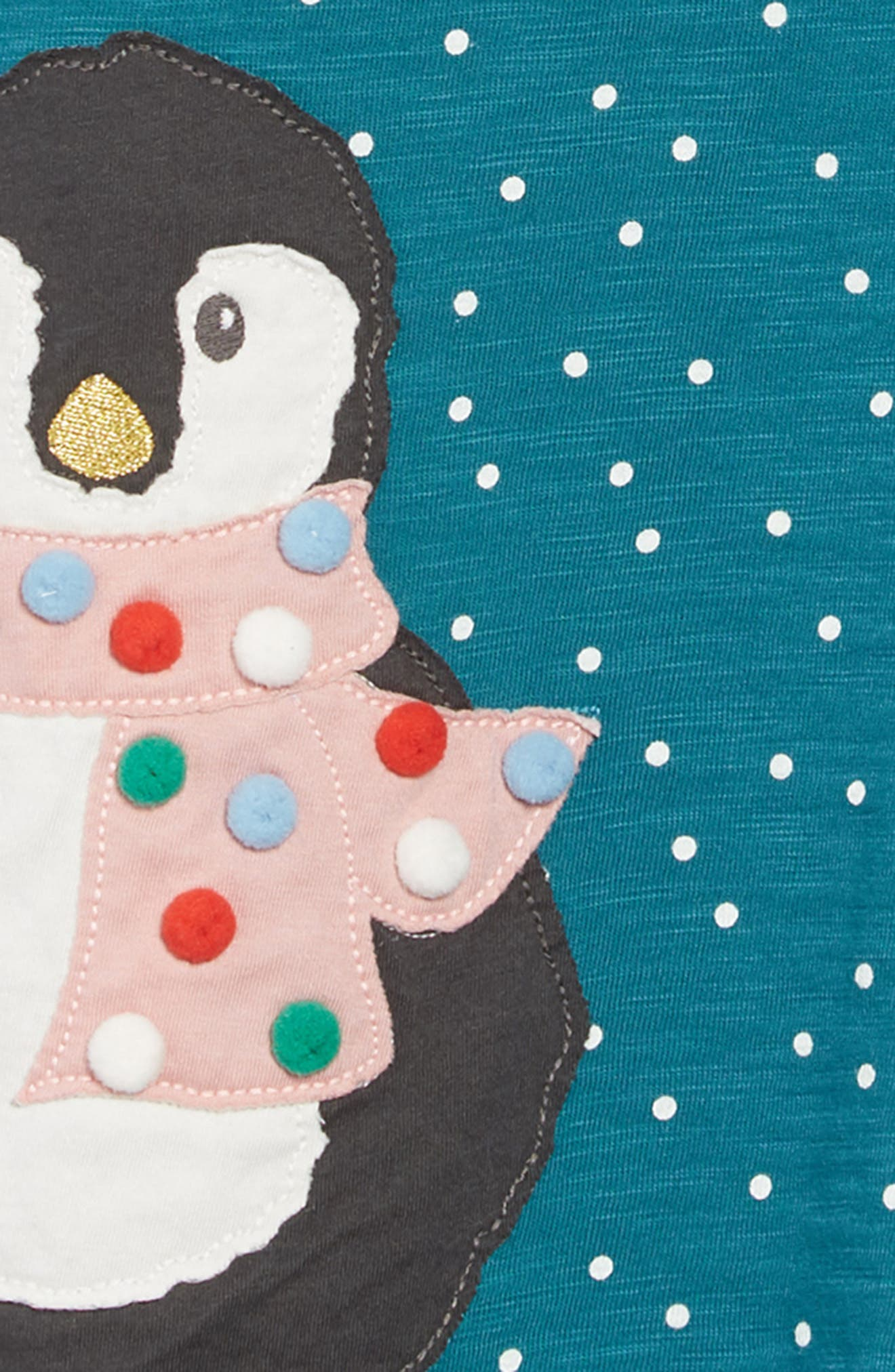 Mini Boden Spotty Animal Appliqué Dress,                             Alternate thumbnail 3, color,                             DGR DRAKE GREEN PENGUIN