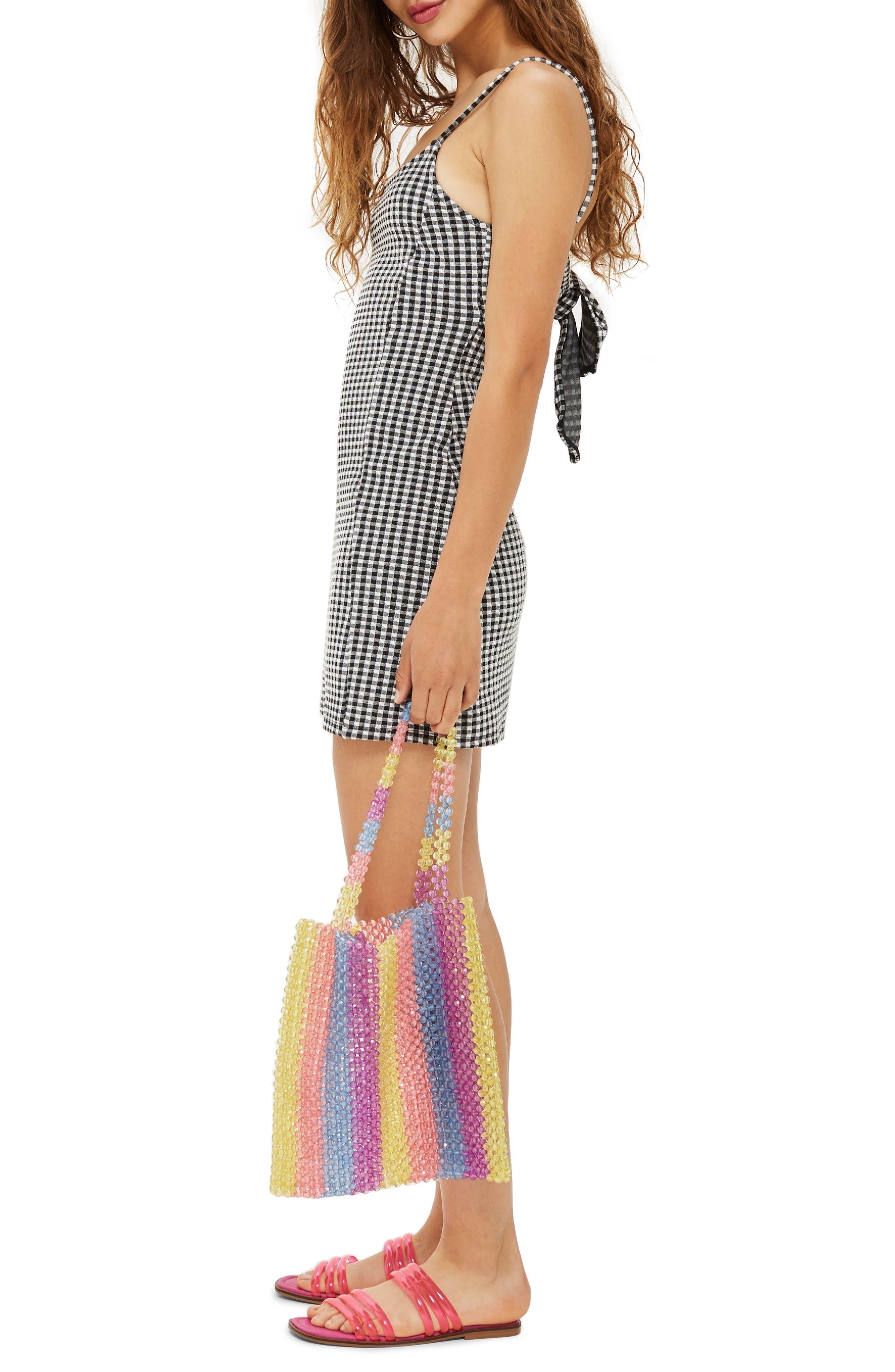 Gingham Pinafore Minidress,                             Alternate thumbnail 3, color,                             001