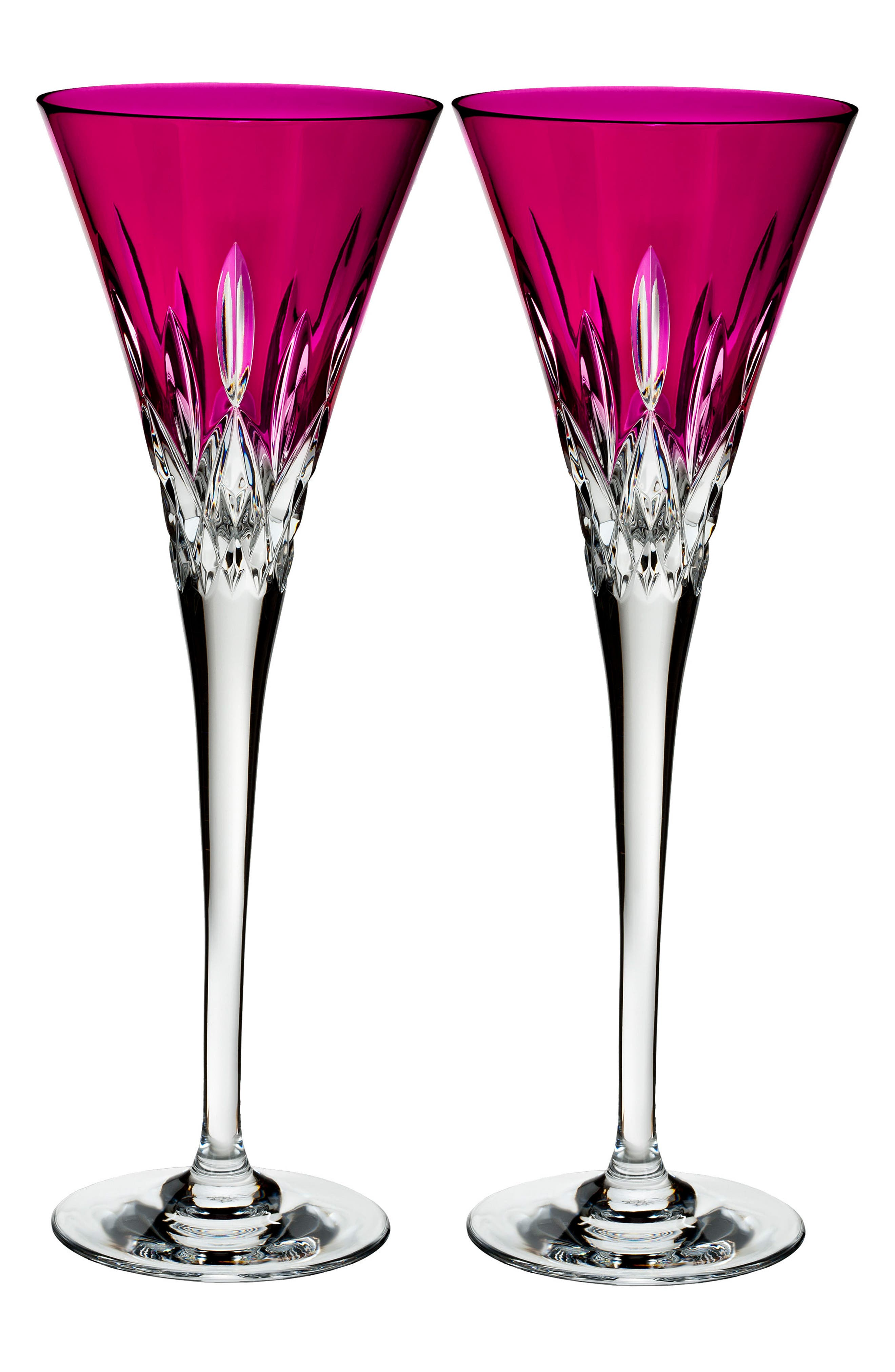 Lismore Pops Set of 2 Hot Pink Lead Crystal Champagne Flutes,                             Main thumbnail 1, color,