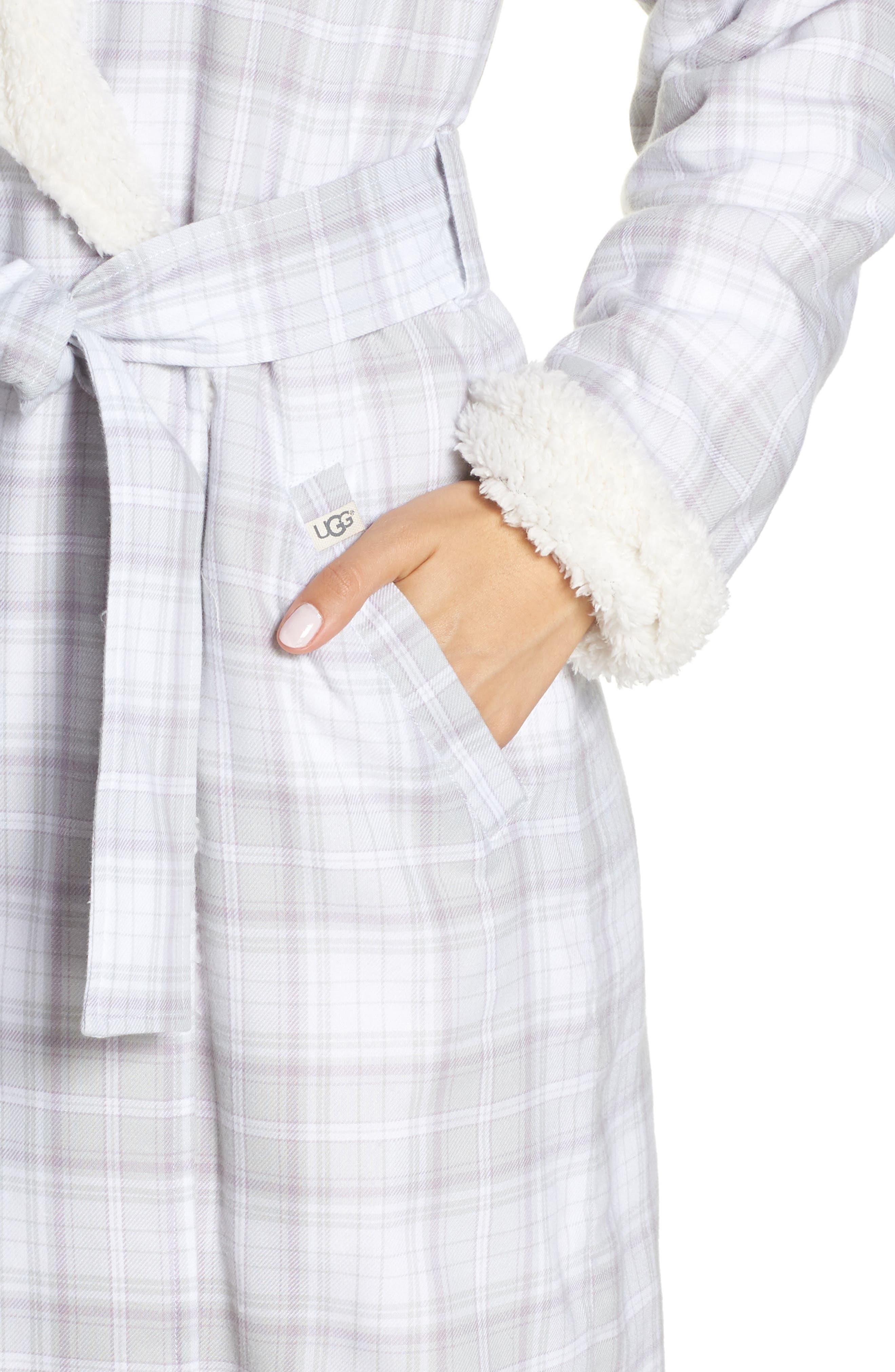 Anika Fleece Lined Flannel Robe,                             Alternate thumbnail 4, color,                             LAVENDER AURA PLAID