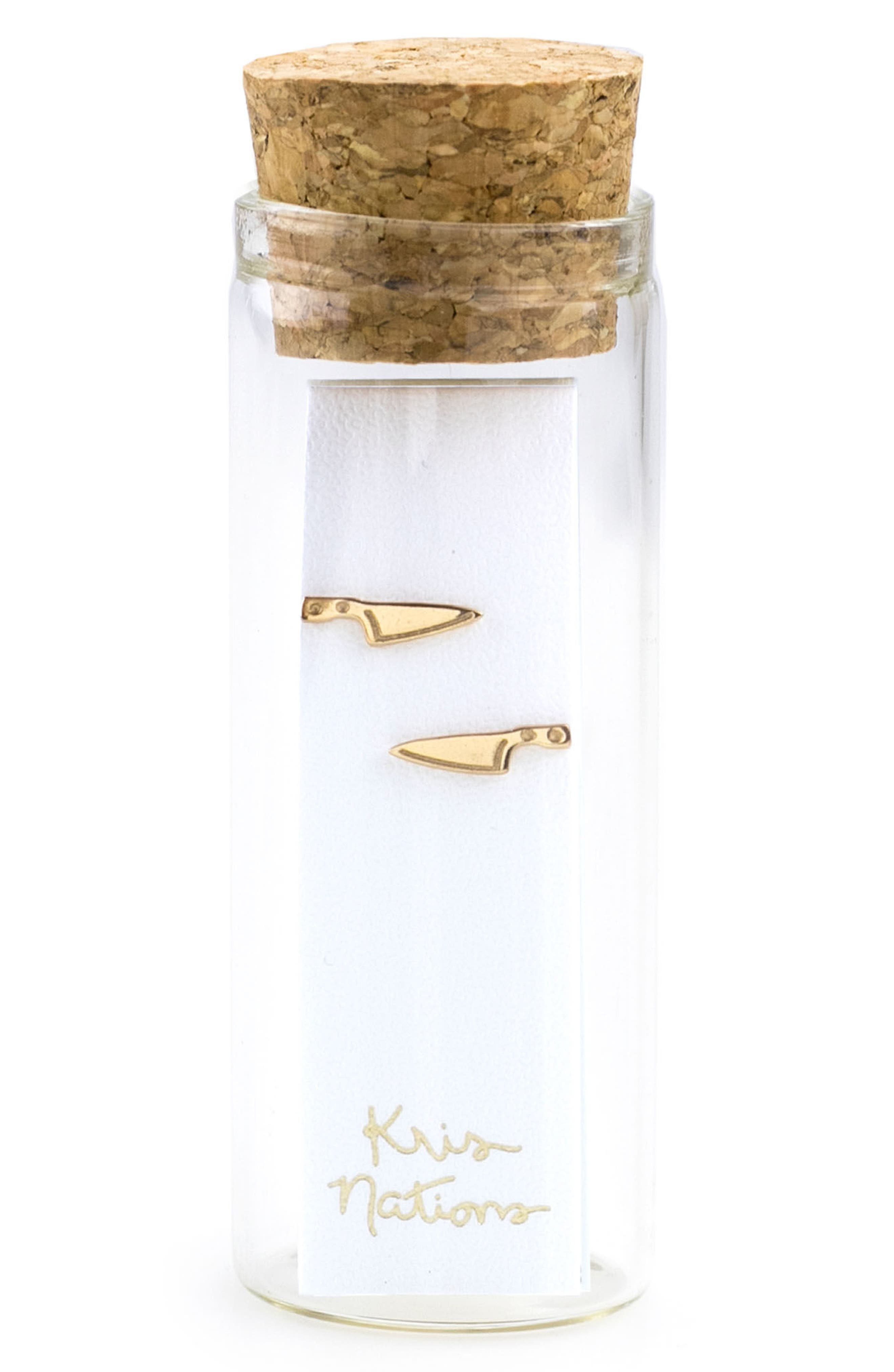 Knife Stud Earrings,                             Alternate thumbnail 2, color,                             GOLD