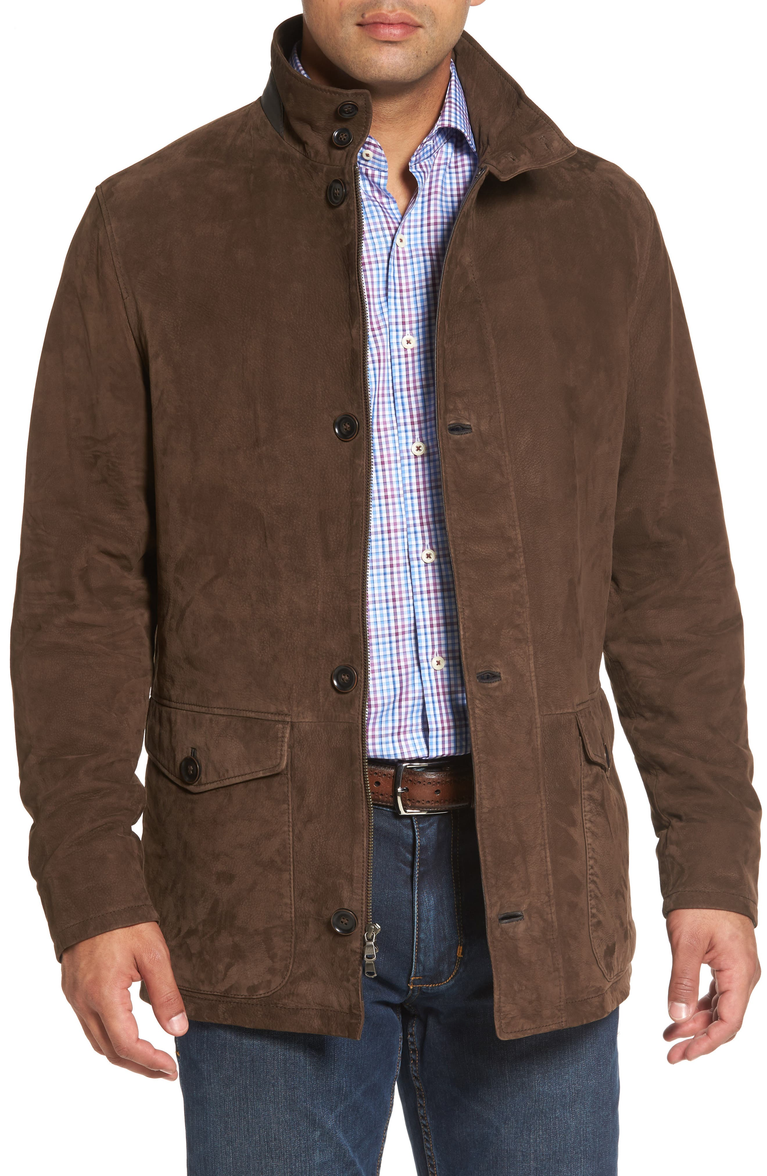 Steamboat Leather Jacket with Genuine Shearling Lined Bib,                             Alternate thumbnail 4, color,                             227