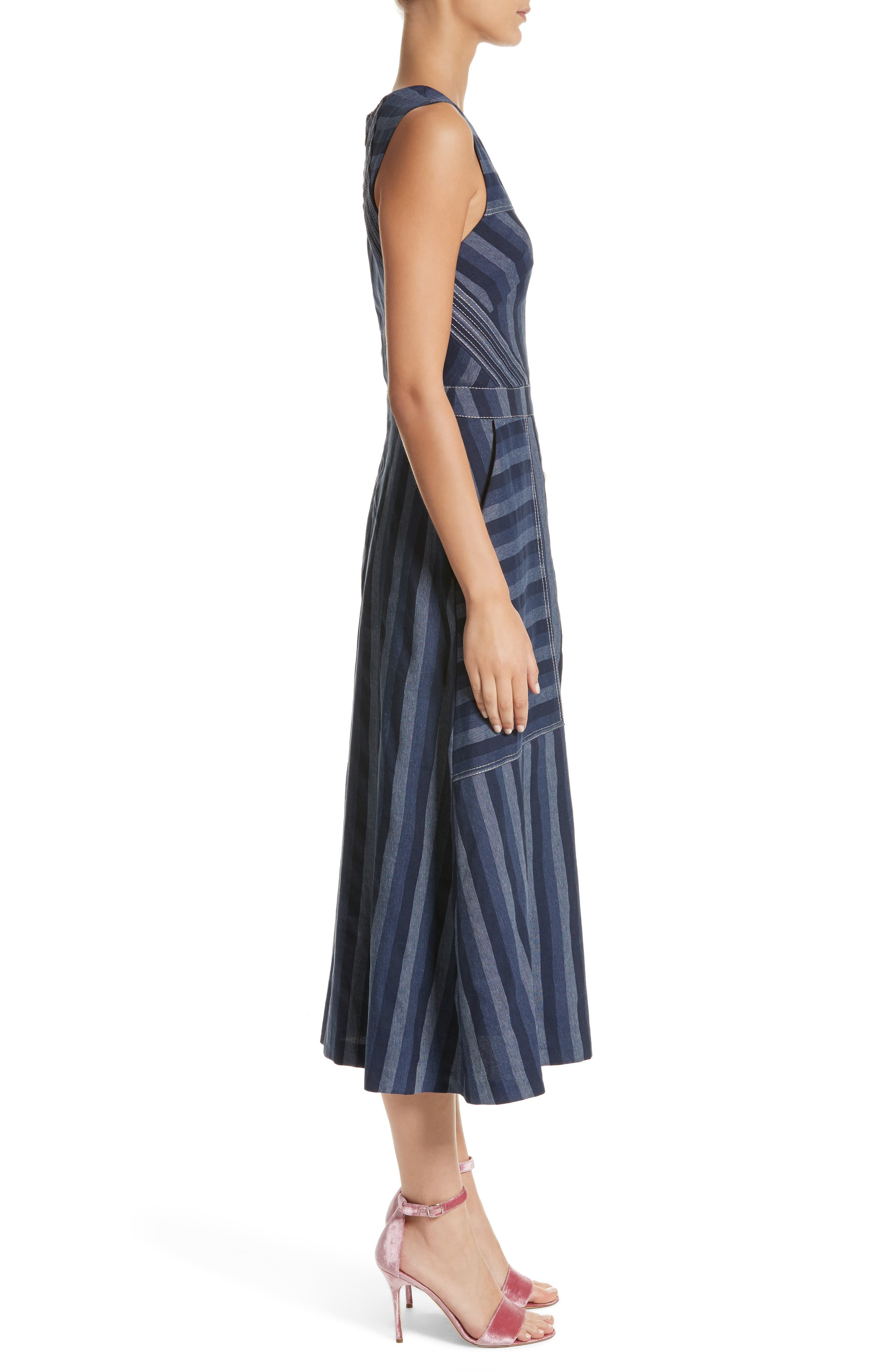 Stripe Denim Midi Dress,                             Alternate thumbnail 3, color,                             410