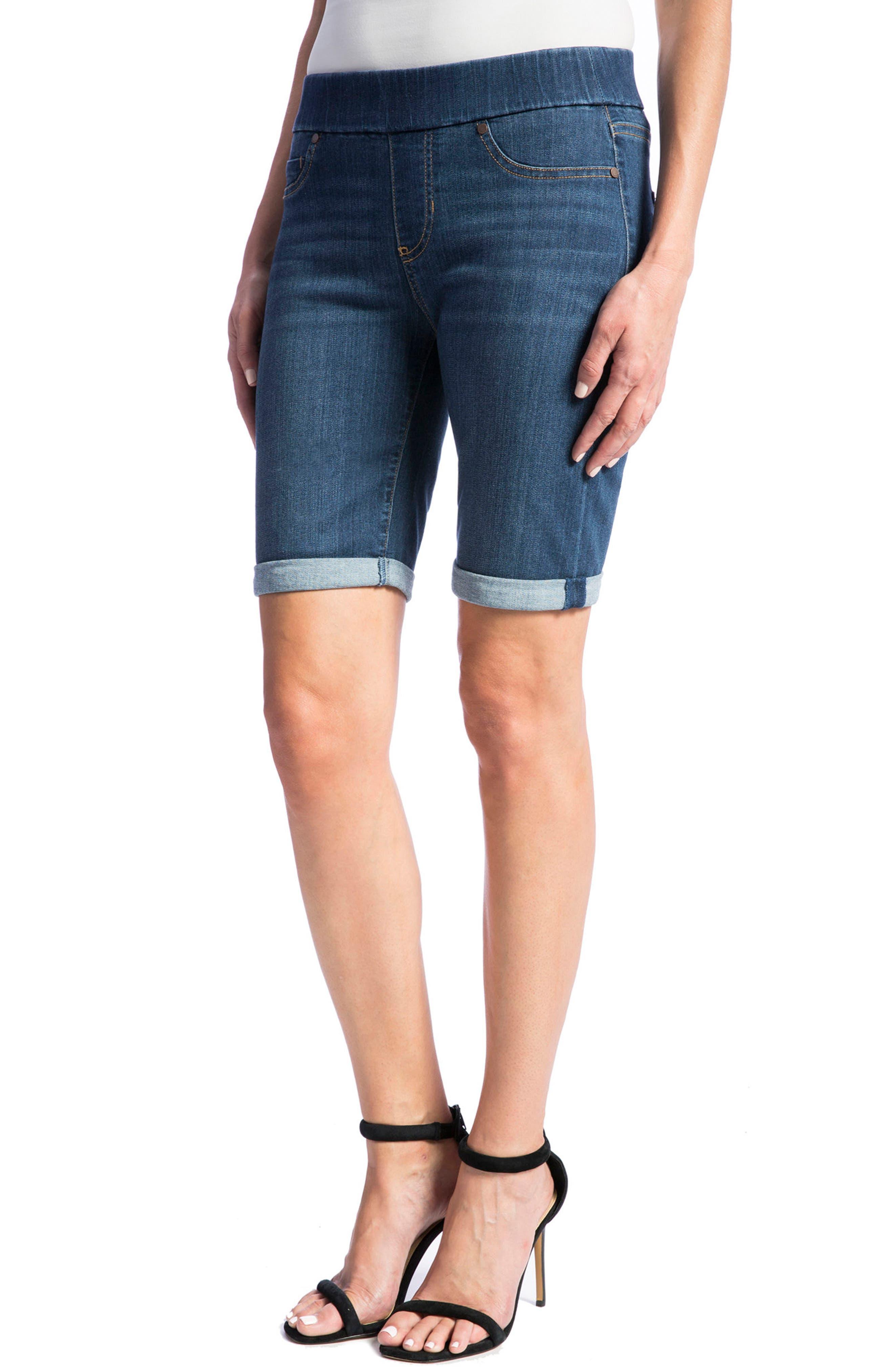 Sienna Pull-On Denim Bermuda Shorts,                             Alternate thumbnail 3, color,                             ELYSIAN DARK