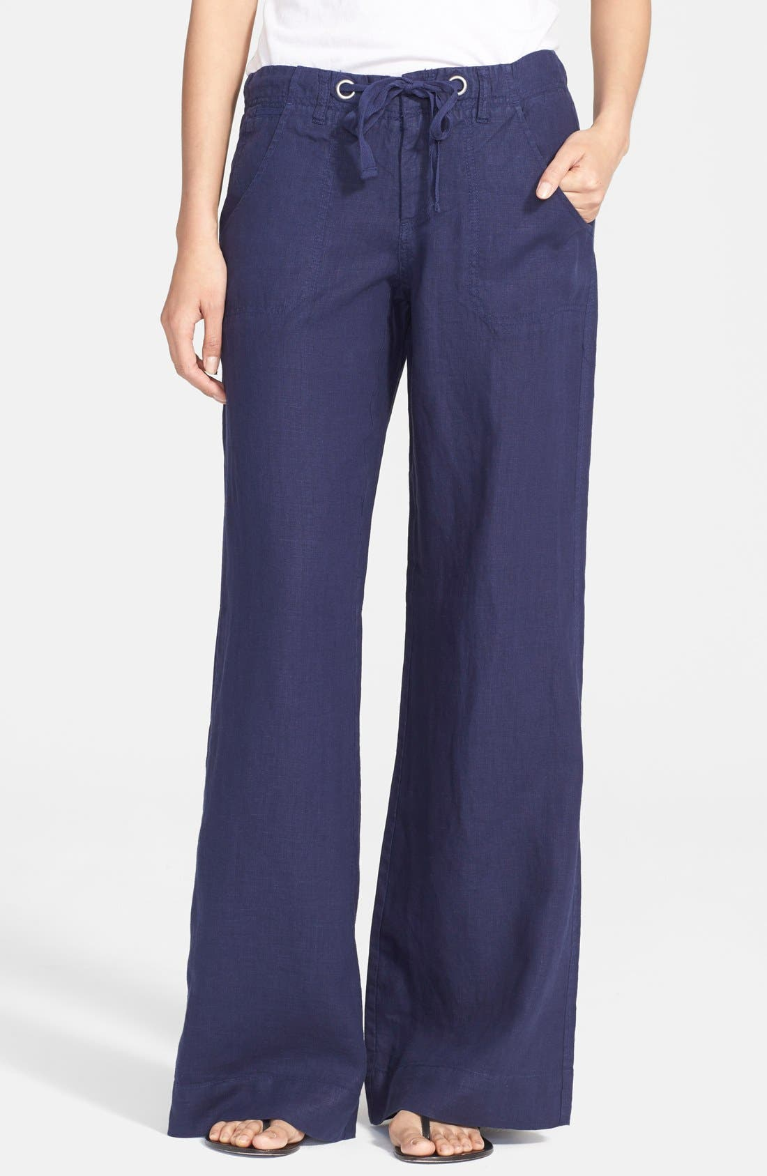 Wide Leg Linen Pants,                         Main,                         color, 418