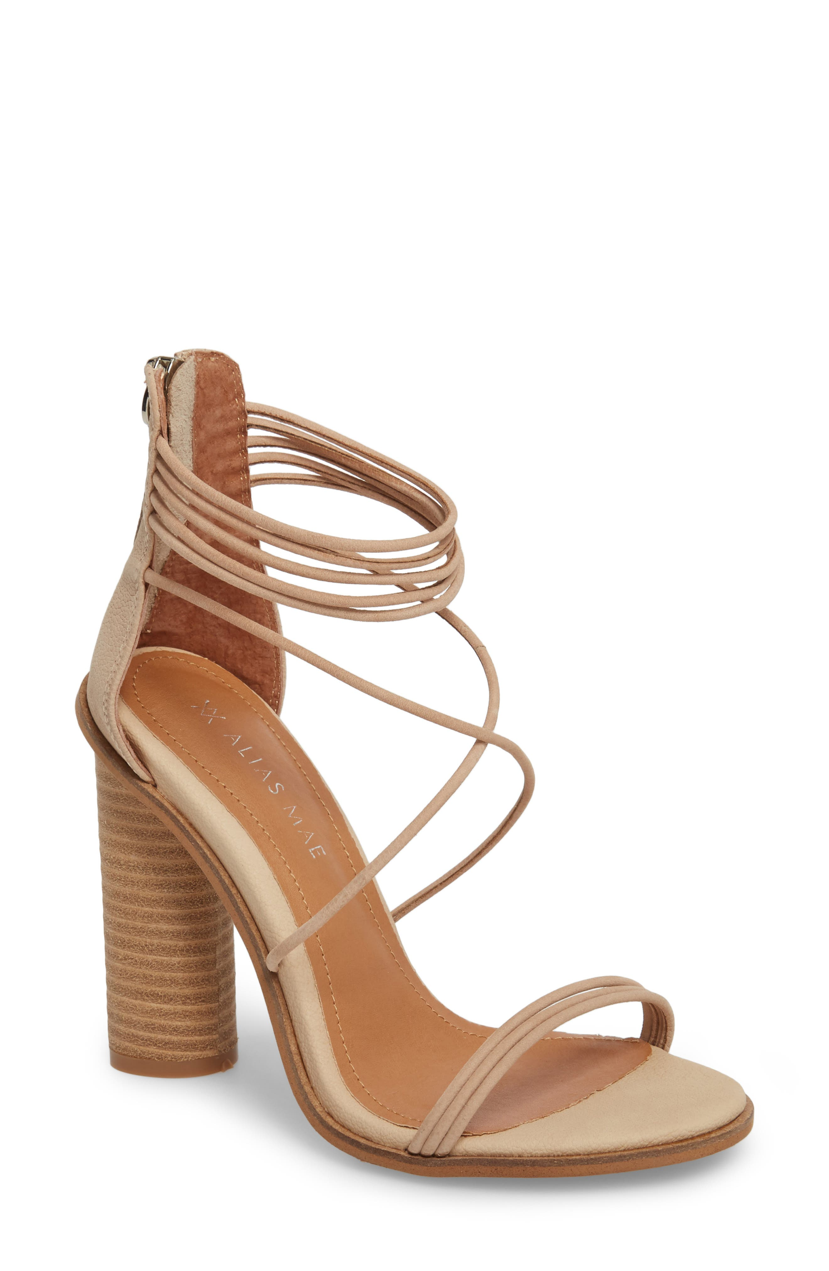 Aflux Tall Strappy Sandal,                             Main thumbnail 1, color,                             NATURAL LEATHER