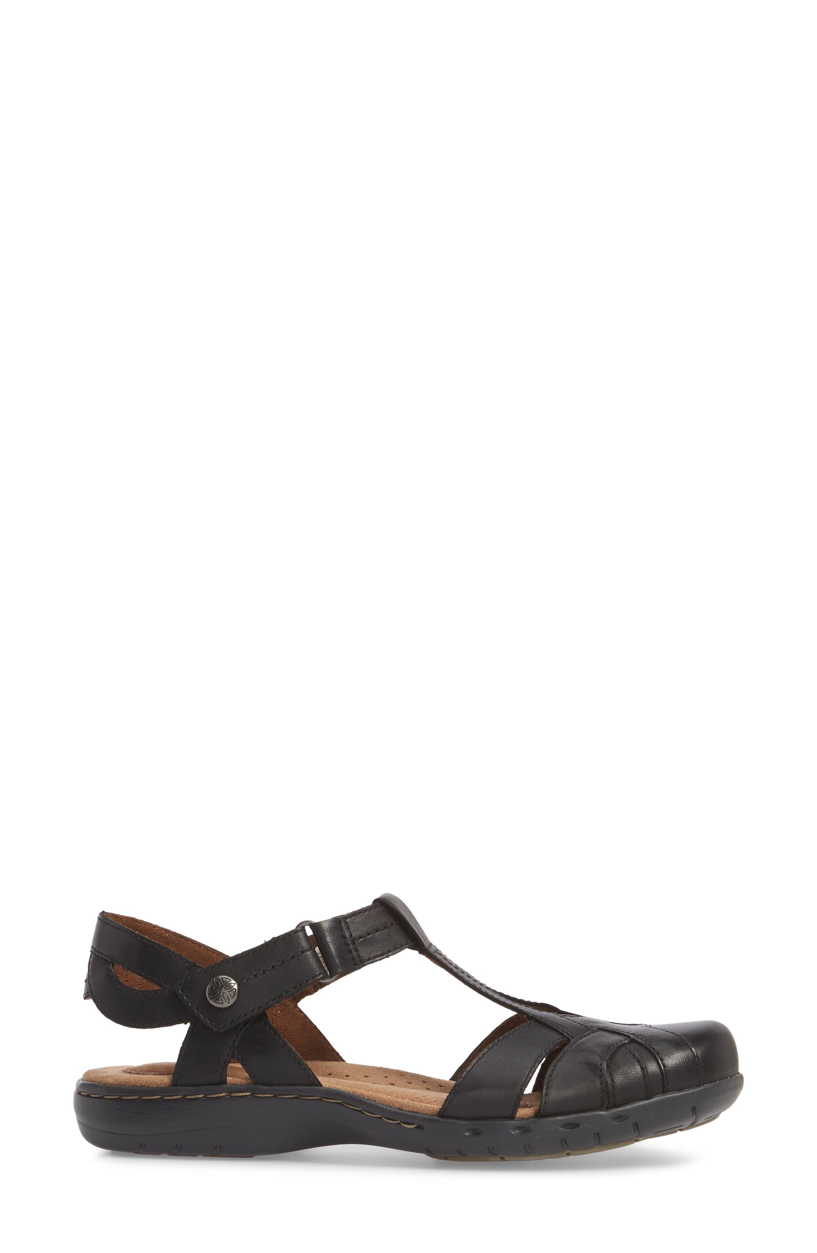 Penefield T-Strap Sandal,                             Alternate thumbnail 3, color,                             BLACK LEATHER