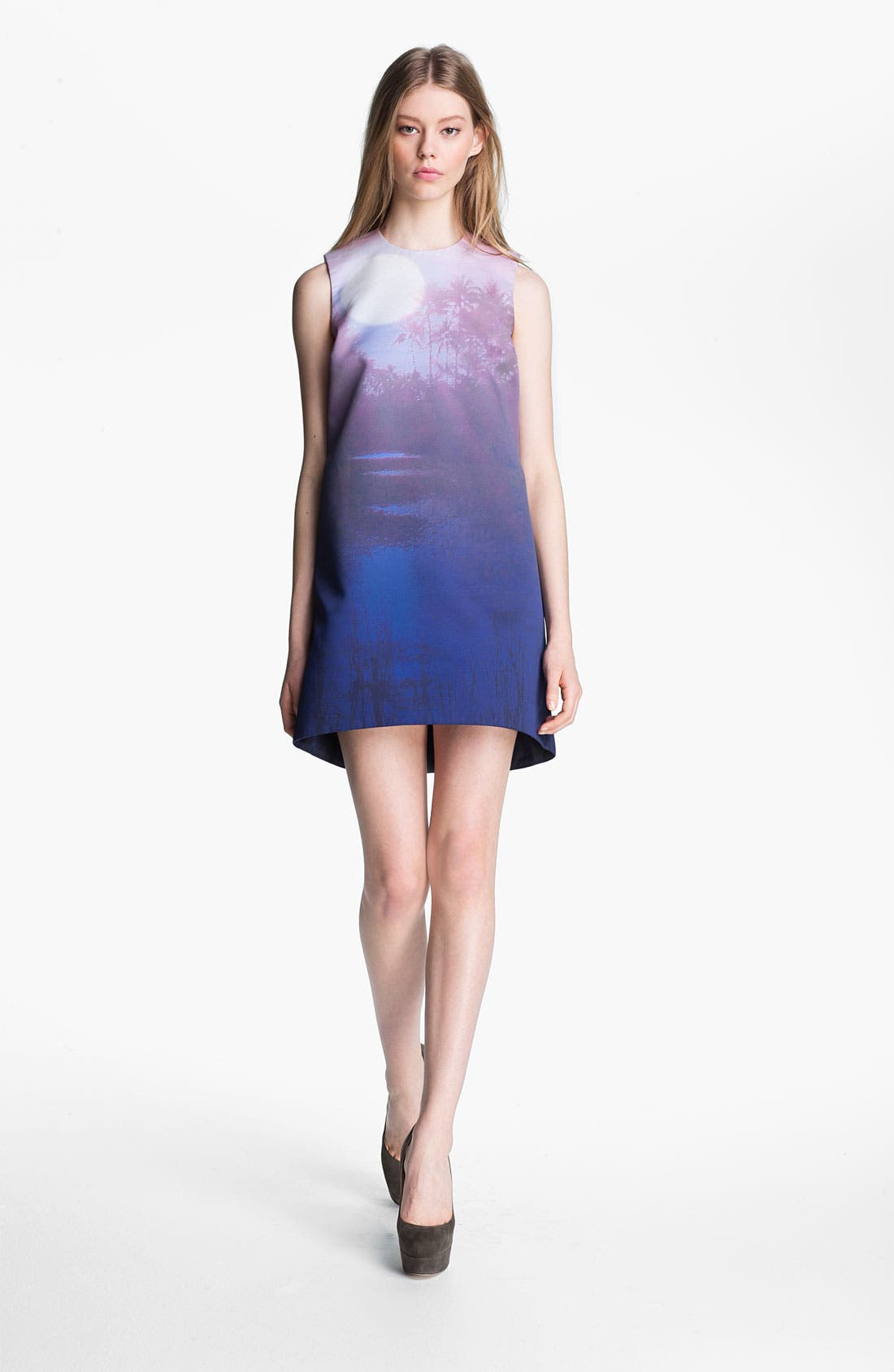 Print Compact Sateen Shift Dress, Main, color, 400