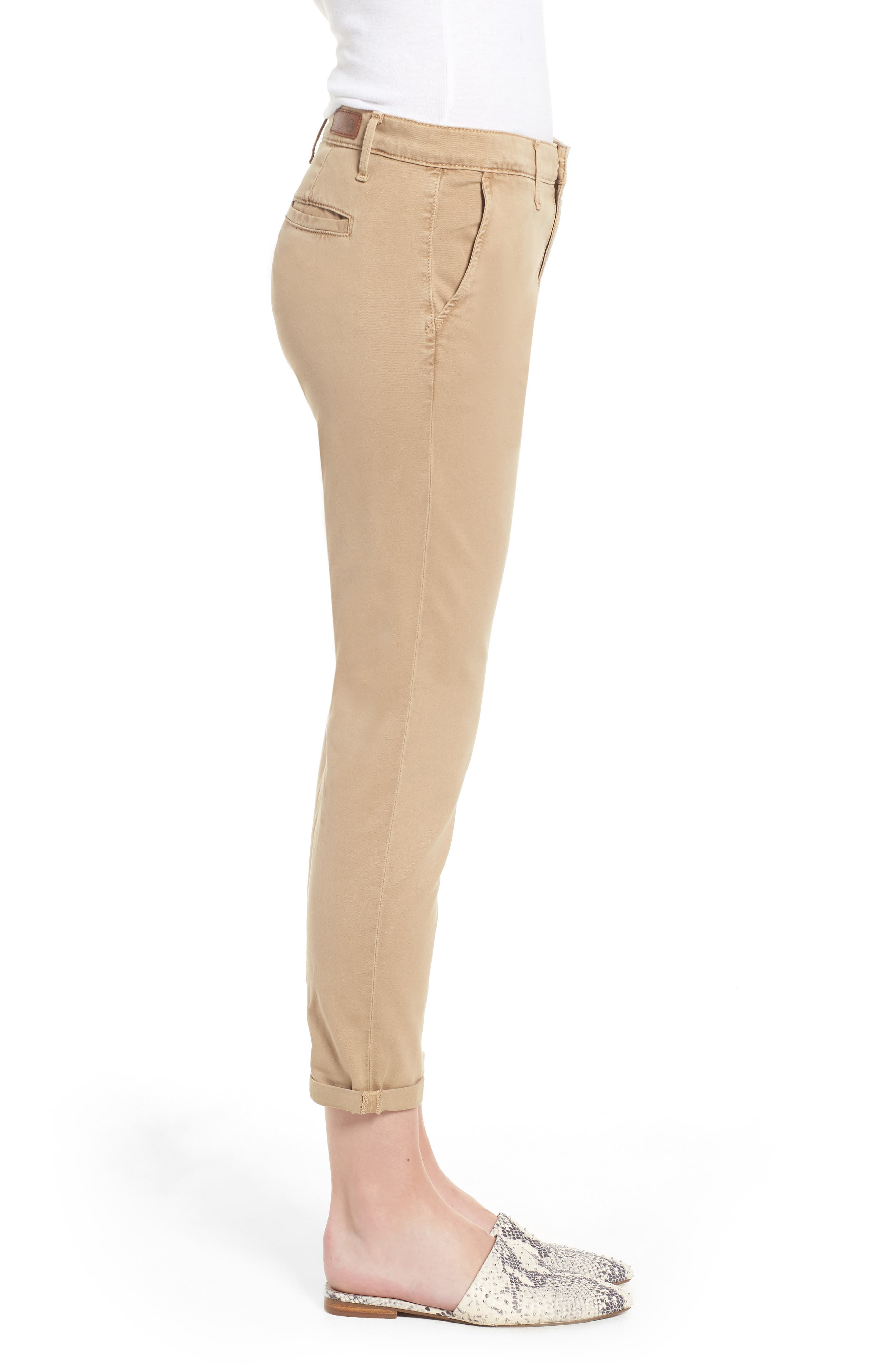 Caden Crop Twill Trousers,                             Alternate thumbnail 3, color,                             SULFUR TOASTED